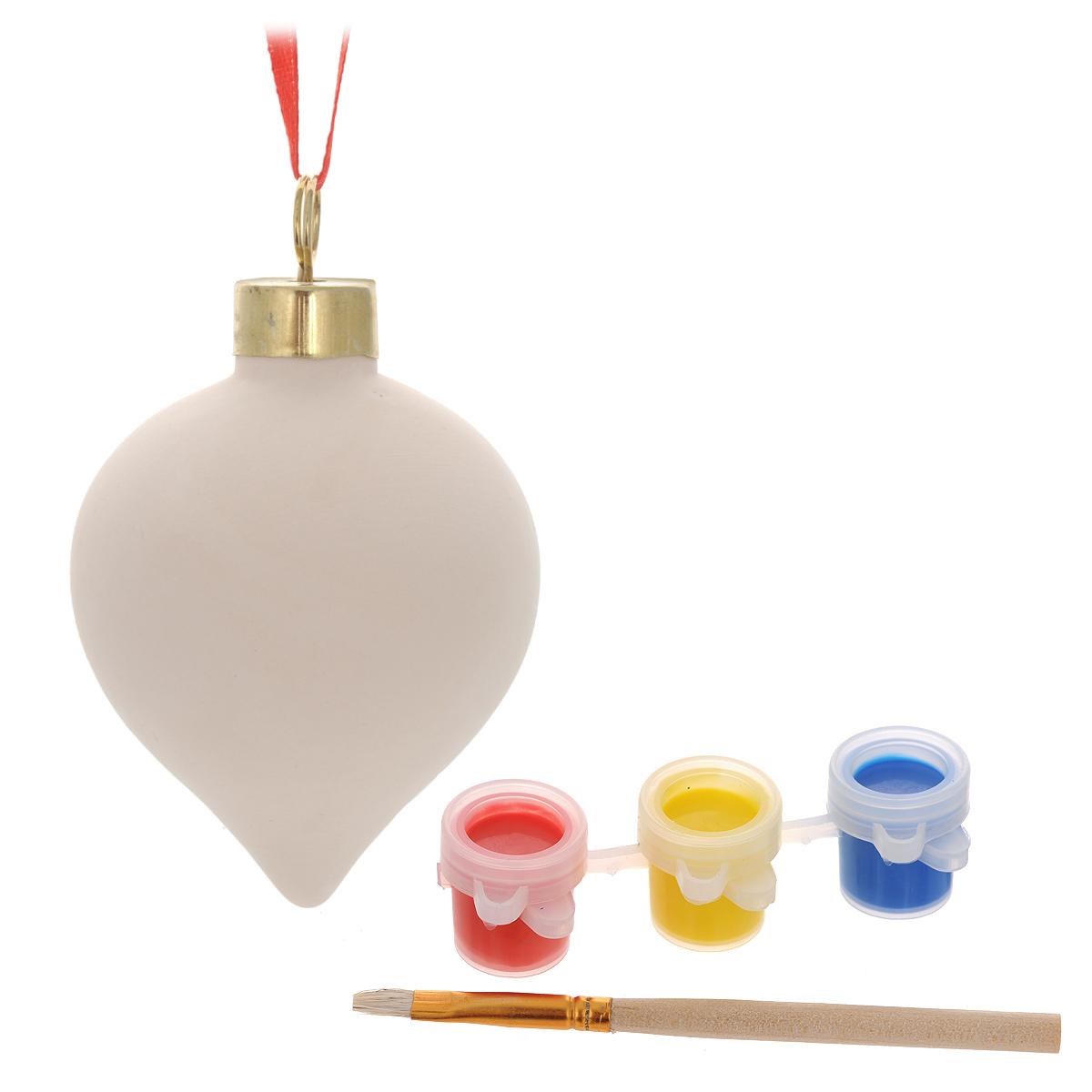 Новогодний набор для творчества Сосулька, 5 предметов. 3467834678Набор для творчества Сосулька включает в себя: заготовку из доломитовой глины, три баночки с акварельными красками и кисть. Раскрасьте новогоднюю игрушку вместе с ребенком и повесьте на елку. Игрушка, выполненная своими руками, будет радовать глаз и создаст хорошее настроение. Рельефные раскраски специально разработаны для эффективного применения методик развития памяти, моторики и внимания ребенка. Они позволяют использовать различные приемы оформления и элементы аппликаций, причем уровень сложности вы можете выбирать самостоятельно. Длина кисти: 9,5 см. Размер баночки с краской: 3 см x 2 см x 1,5 см. Размер заготовки: 8,5 см x 4,5 см x 4,5 см.