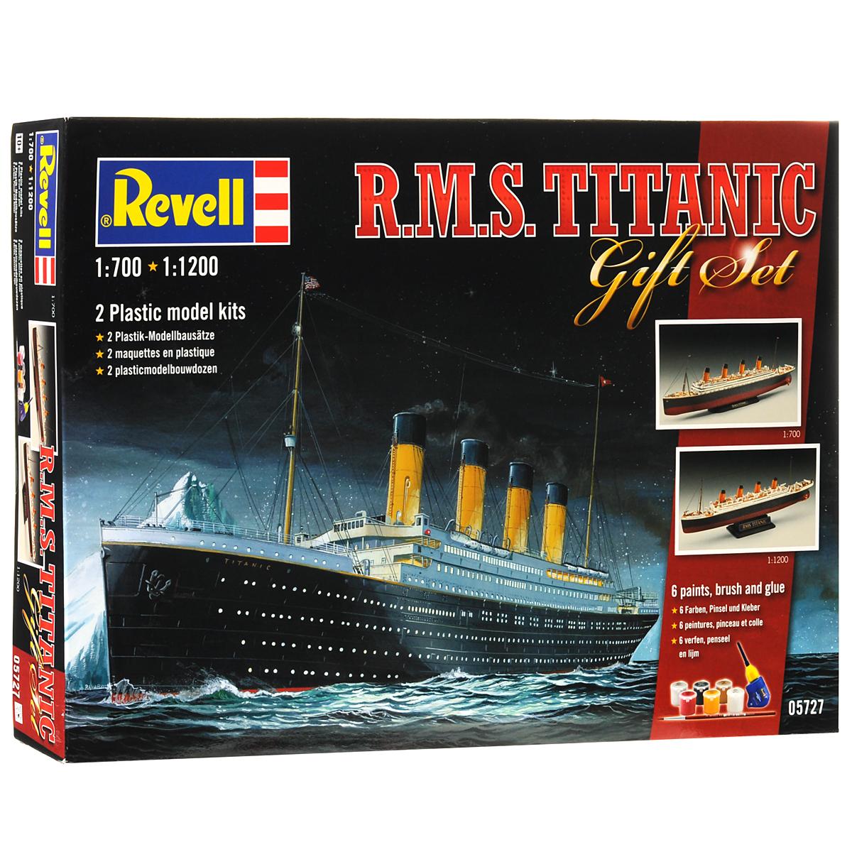 Revell Набор для сборки и раскрашивания Корабль R.M.S Titanic 2 шт05727С помощью набора Revell Корабль R.M.S Titanic вы и ваш ребенок сможете собрать уменьшенную копию одноименного знаменитого корабля и раскрасить ее. Титаник (R.M.S. Titanic) - английский пароход произведенный компанией Уайт Стар Лайн, был вторым из трех кораблей-близнецов типа Олимпик. Самый большой пассажирский лайнер мира в свое время. Известен своим печальным первым и единственным рейсом -14 апреля 1912 года, во время которого столкнулся с айсбергом и в течении 2 часов 40 минут затонул. В тот момент на корабле находилось 908 членов экипажа, 1316 пассажиров, всего 2224 человека. Спастись смогли только 711 человек, 1513 погибло. Крушение Титаника стало легендарным, на основе этих событий было снято множество художественных фильмов. Набор включает в себя 2 комплекта пластиковых элементов по 132 и 40 штук для сборки двух моделей, краски пяти цветов, клей, кисточку и схематичную инструкцию по сборке. Благодаря набору ваш ребенок научится...