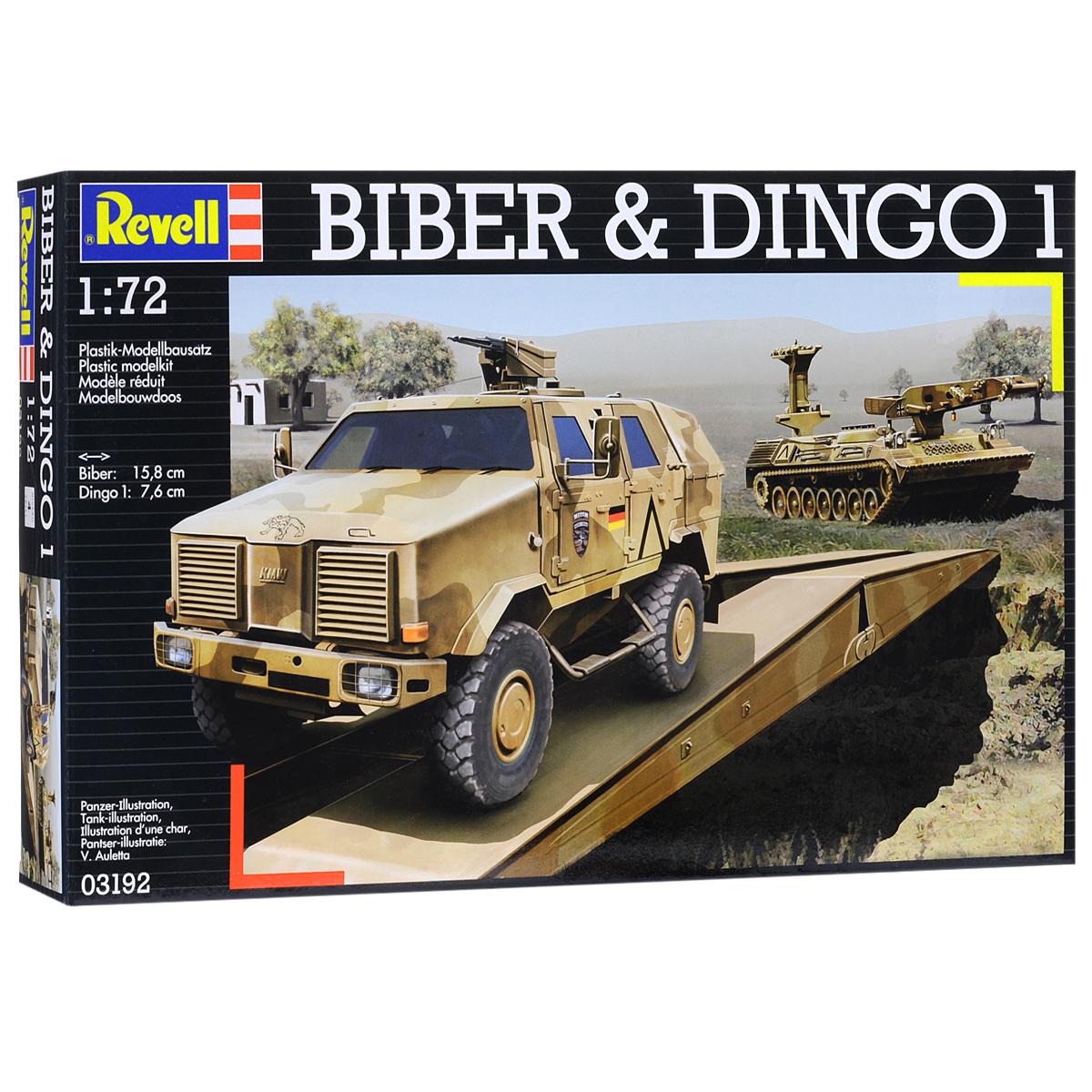 Сборная модель Revell Танковый мостоукладчик Biber и бронеавтомобиль Dingo ATF03192Сборная модель Revell Танковый мостоукладчик Biber и бронеавтомобиль Dingo ATF поможет вам и вашему ребенку придумать увлекательное занятие на долгое время. Набор включает в себя две сборные модели состоящие из 247 пластиковых элементов, из которых можно собрать достоверные уменьшенные копии мостоукладчика и бронеавтомобиля. Разработанный инженерами компании Krauss-Maffei Wegmann Dingo 1 был принят на вооружение Бундесвера в 2003 году. По оценке экспертов на данный момент броневик занимает лидирующие позиции по показателям защиты среди машин своего класса. Dingo стоит на вооружении в армиях шести стран. Всего было выпущено около 800 экземпляров. Мостоукладчик Biber был создан на базе шасси танка Леопард в 1973 году. Мостоукладчик способен навести переправу в течении 2-3 минут. Контролировать процесс установки моста могут всего два человека. Также в наборе схематичная инструкция по сборке. Процесс сборки развивает интеллектуальные и инструментальные...