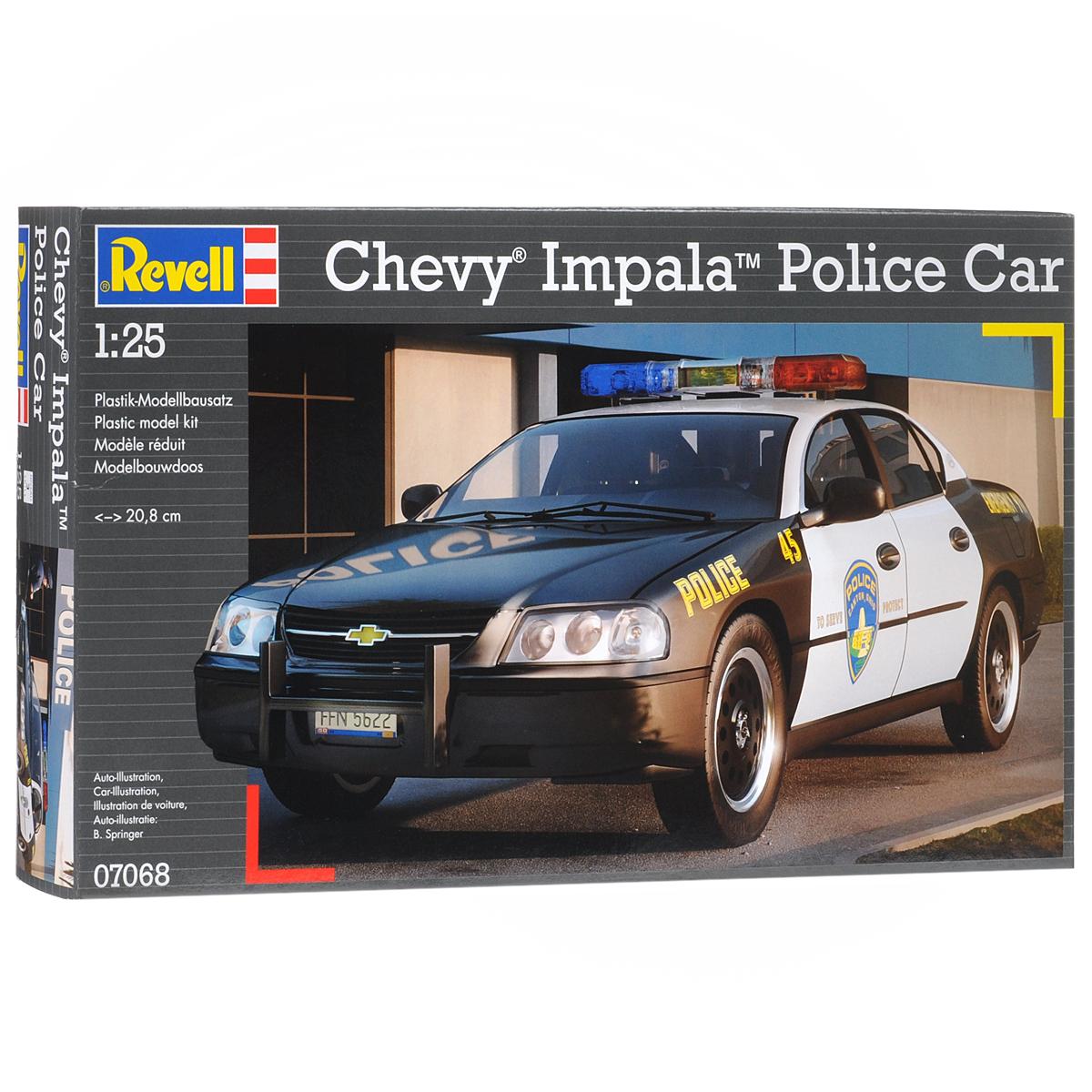 Сборная модель Revell Полицейская машина Chevy Impala07068Сборная модель Revell Полицейская машина Chevy Impala поможет вам и вашему ребенку придумать увлекательное занятие на долгое время. Набор включает в себя 44 пластиковых элемента, из которых можно собрать достоверную уменьшенную копию одноименного автомобиля. Chevrolet Impala - культовый американский полноразмерный автомобиль, выпускавшийся подразделением корпорации GM Chevrolet. В модельном ряду автомобиль занимал различное положение в зависимости от года выпуска. До 1965 года это был самый дорогой легковой Шевроле. С 1965 по 1985 Импала занимала по цене промежуточное положение между люксовой модификацией Chevrolet Caprice и дешевыми Chevrolet Bel Air и Biscayne. Также в наборе схематичная инструкция по сборке. Процесс сборки развивает интеллектуальные и инструментальные способности, воображение и конструктивное мышление, а также прививает практические навыки работы со схемами и чертежами. Уровень сложности: 3. УВАЖАЕМЫЕ КЛИЕНТЫ! ...
