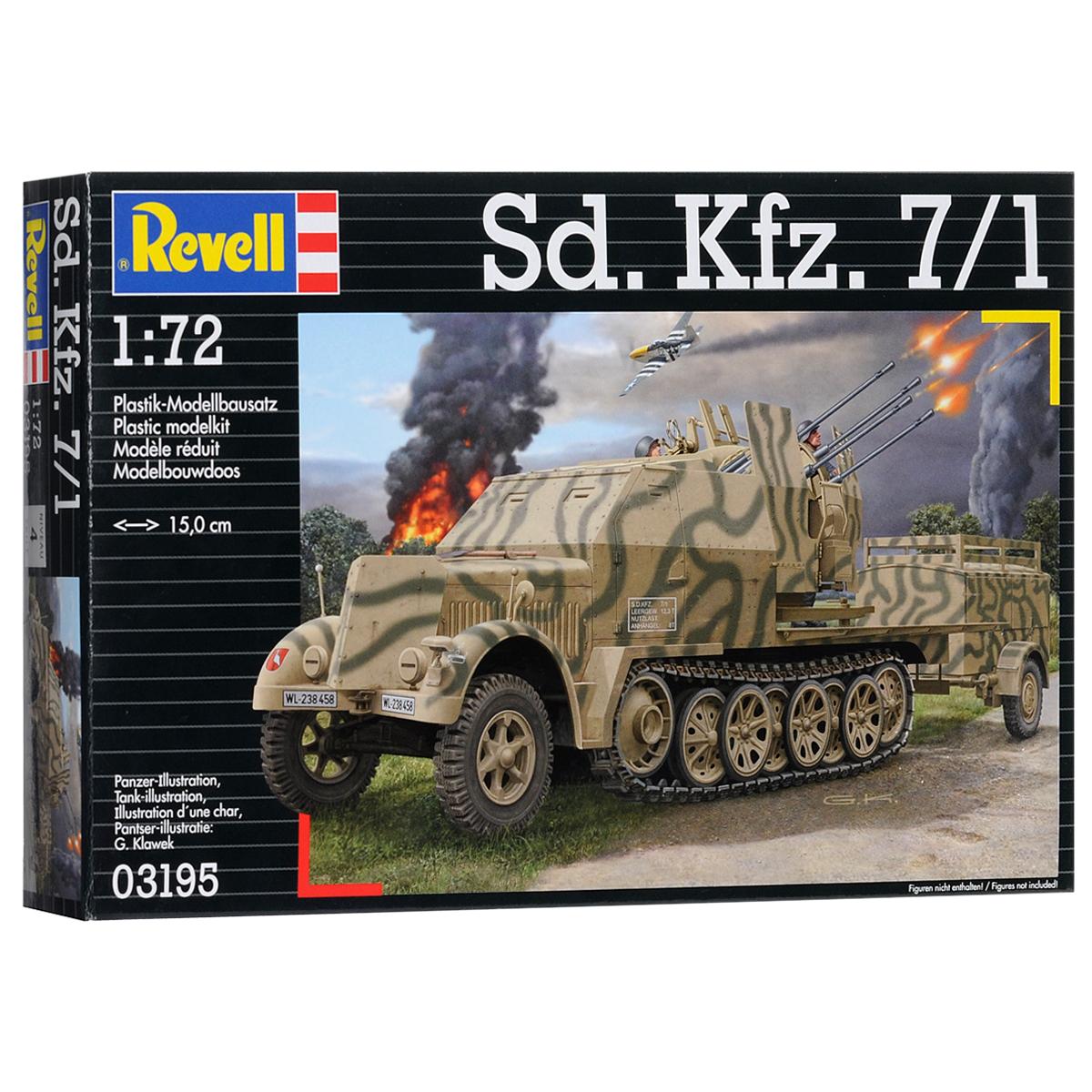 Сборная модель Revell Полугусеничный тягач Sd. Kfz. 7/103195Сборная модель Revell Полугусеничный тягач Sd. Kfz. 7/1 поможет вам и вашему ребенку придумать увлекательное занятие на долгое время. Набор включает в себя 156 пластиковых элементов, из которых можно собрать достоверную уменьшенную копию одноименного тягоча. Эти 8-тонные машины использовались в основном для перевозки пехоты Вермахта и транспортировки тяжелых орудий. Тягач мог перевозить 12 человек со скоростью до 50 км/ч. Модификация Sd. Kfz. 7/1 отличалась от обычной версии тягача лафетом, на который были установлены два зенитных орудия 38 мм. Кроме того на кабину было установлено дополнительное бронирование. Также в наборе схематичная инструкция по сборке. Процесс сборки развивает интеллектуальные и инструментальные способности, воображение и конструктивное мышление, а также прививает практические навыки работы со схемами и чертежами. Уровень сложности: 4. УВАЖАЕМЫЕ КЛИЕНТЫ! Обращаем ваше внимание на тот факт, что элементы для сборки не...