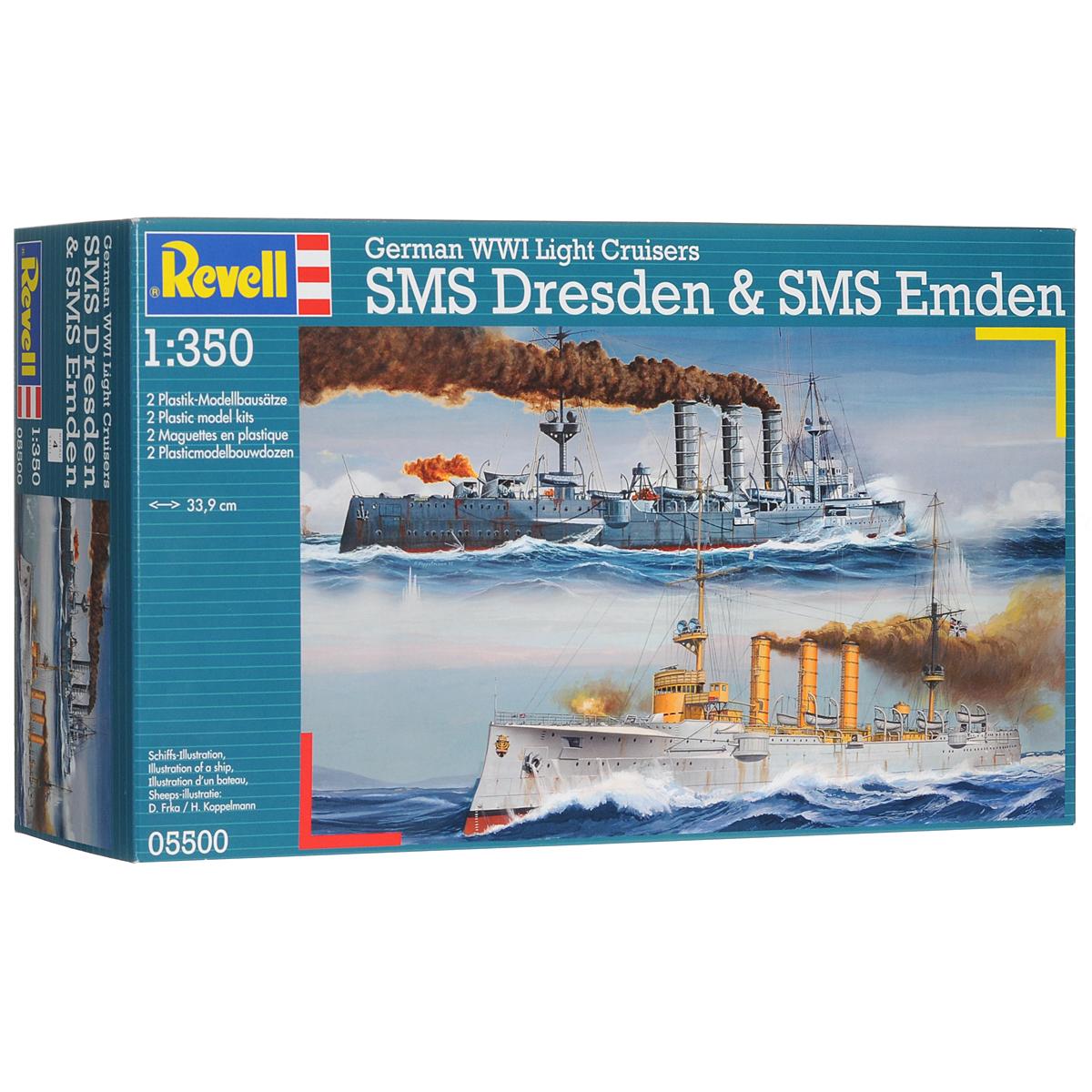 Сборная модель Revell Немецкие крейсеры SMS Dresden and SMS Emden05500Сборная модель Revell Немецкие крейсеры SMS Dresden and SMS Emden поможет вам и вашему ребенку придумать увлекательное занятие на долгое время. Набор включает в себя 282 пластиковых элемента, из которых можно собрать достоверную уменьшенную копию одноименных кораблей. Dresden - немецкий бронепалубный крейсер времен Первой мировой войны, головной корабль в серии двух однотипных крейсеров, вторым был знаменитый рейдер Emden. Крейсер входил в состав Восточно-Азиатской крейсерской эскадры, участвовал в бою у Коронеля, стал единственным немецким кораблем, спасшимся в бою у Фолклендских островов. Emden - немецкий бронепалубный крейсер времен Первой мировой войны. Получил известность благодаря успешным рейдерским действиям против торгового судоходства и военных кораблей союзников в Индийском океане. С 1 августа по 9 ноября 1914 года захватил 23 торговых судна, потопил русский крейсер и французский эсминец. Особо отмечалось строгое соблюдение законов и обычаев...