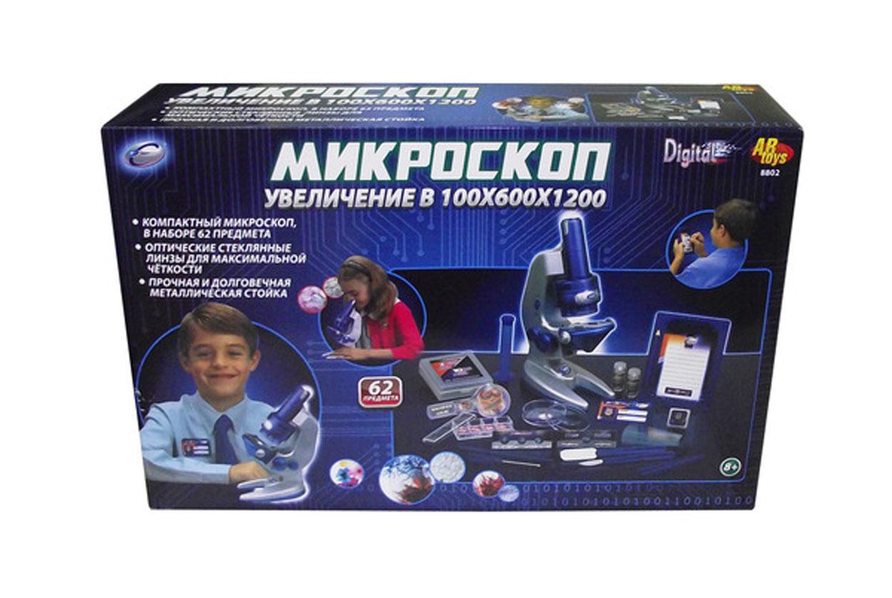 Eastcolight Микроскоп с объективом разрешения 100Х600Х1200 в наборе с аксессуарами (64 предмета шт.), пластмасса+элементы из металла