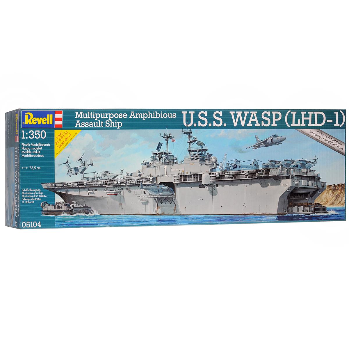 Сборная модель Revell Корабль U.S.S. Wasp05104Сборная модель Revell Корабль U.S.S. Wasp поможет вам и вашему ребенку придумать увлекательное занятие на долгое время. Набор включает в себя 1349 пластиковых элементов, из которых можно собрать достоверную уменьшенную копию одноименного корабля. Универсальные десантные корабли типа Wasp - серия кораблей ВМФ США, спроектированная для высадки сухопутных войск. Корабли этой серии являются крупнейшими кораблями такого типа в мире. Универсальные десантные корабли типа Wasp были разработаны по заказу командования ВМС США для замены 7 десантных кораблей типа Иводзима и дополнения серии из 5 универсальных кораблей типа Тарава. Корабли этого класса были созданы специально для обеспечения транспортировки морем и высадки на необорудованное побережье полностью укомплектованного экспедиционного батальона морской пехоты (около 1900 человек), управления силами десанта и оказания ему авиационной поддержки силами эскадрильи самолетов с вертикальным взлетом. Также в наборе...