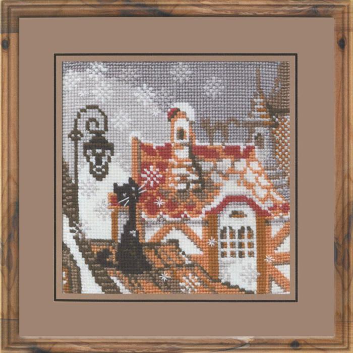 Набор для вышивания крестом Riolis Город и кошки, 13 х 13 см610