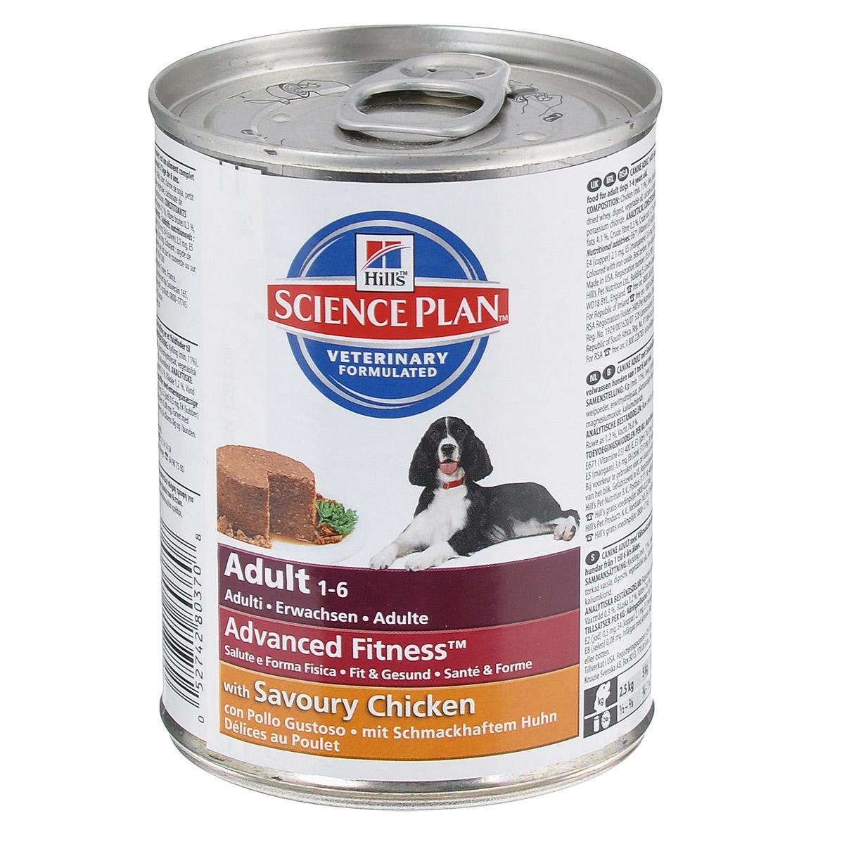 Консервы для взрослых собак Hills Advanced Fitness, с курицей, 370 г8037Консервы Hills Advanced Fitness - это полноценное, точно сбалансированное питание, приготовленное из ингредиентов высокого качества, без добавления красителей и консервантов. Консервы предназначены для поддержания мускулатуры и здоровья жизненно важных органов. С антиоксидантами с клинически подтвержденным эффектом, протеином для мускулатуры и Омега-3 жирными кислотами. Ключевые преимущества: Высоко переварваемый протеин для крепкой мускулатуры. Поддерживает здоровье внутренних органов благодаря оптимальному балансу фосфора и натрия. Высоко перевариваемые ингредиенты. Великолепный вкус. Состав: курица (мин 11%), печень, перловая крупа, кукуруза, свинина, мука из соевых бобов, сухая сыворотка, гидролизат белка, растительное масло, кальция карбонат, йодированная соль, оксид магния, калия хлорид. Средний анализ: белок 6,4%, жир 4,1%, клетчатка 0,3%, зола 1,2%, влага 76%. Добавки на кг: Е671 (Витамин D3)...