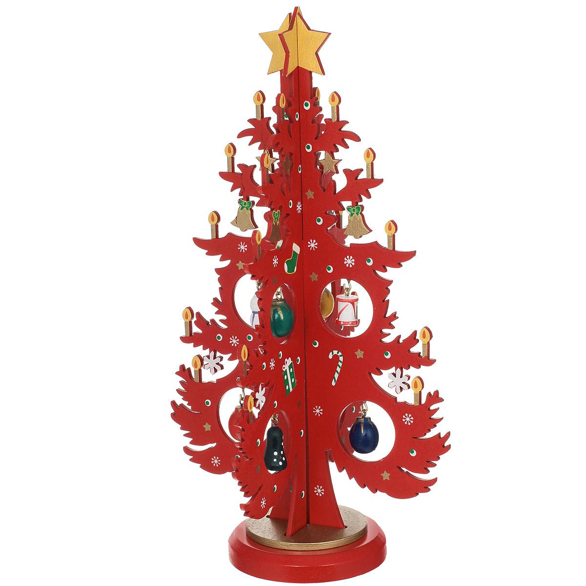 Новогоднее деревянное украшение Елочка со свечами, 25 см