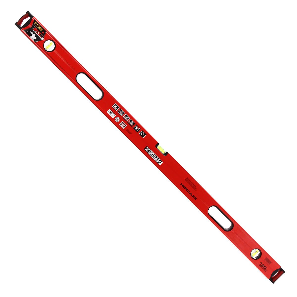 Уровень магнитный Kapro PlumbSite Hercules, 3 колбы, 120 см986-41-120РМУровень Kapro PlumbSite Hercules используется при необходимости контроля горизонтальных и вертикальных плоскостей. Металлический корпус уровня обеспечивает долгий срок эксплуатации. Оснащен 3 колбами. Имеется магнит для фиксации на железном покрытии.