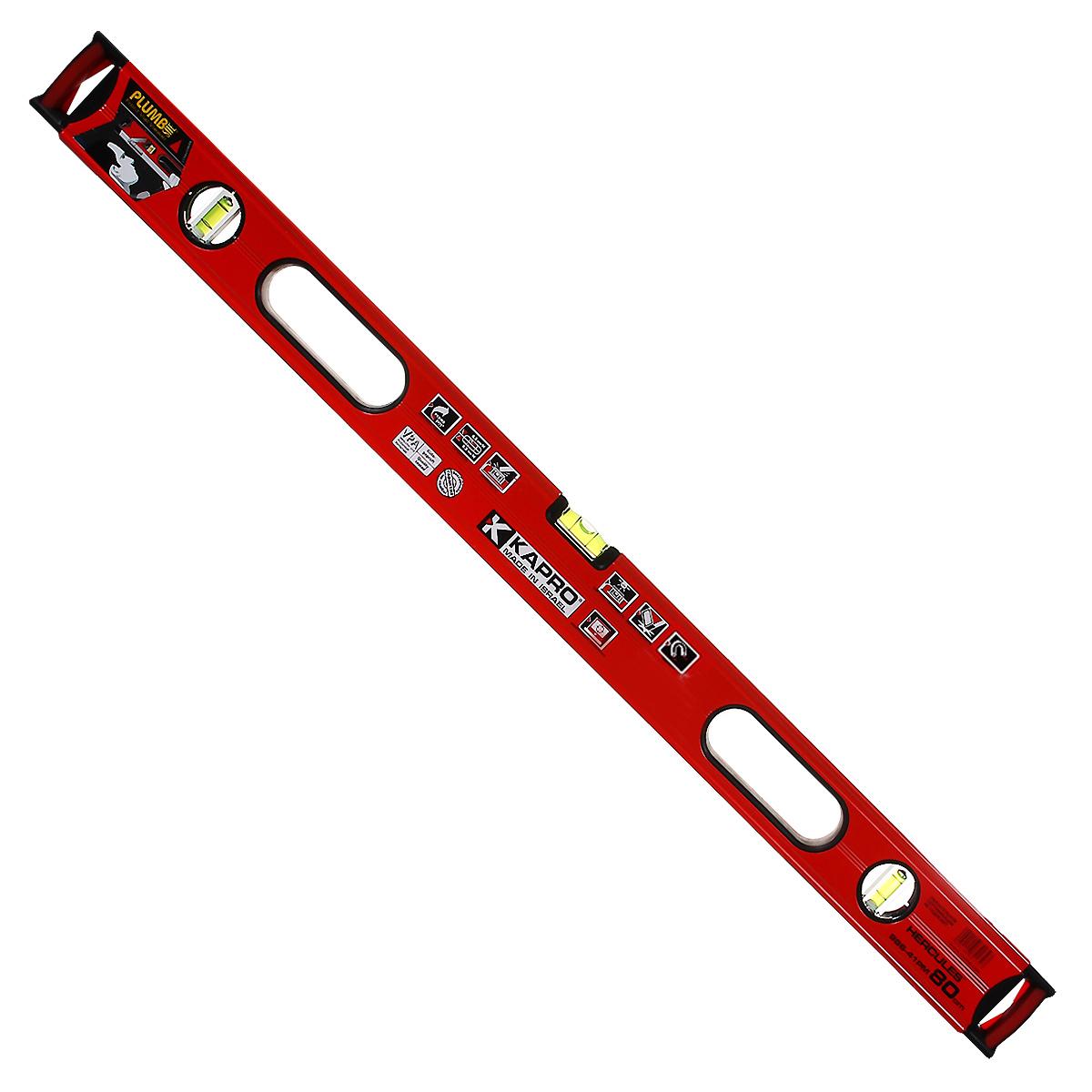 Уровень магнитный Kapro PlumbSite Hercules, 3 колбы, 80 см986-41-80РМУровень Kapro PlumbSite Hercules используется при необходимости контроля горизонтальных и вертикальных плоскостей. Металлический корпус уровня обеспечивает долгий срок эксплуатации. Оснащен 3 колбами. Имеется магнит для фиксации на железном покрытии.
