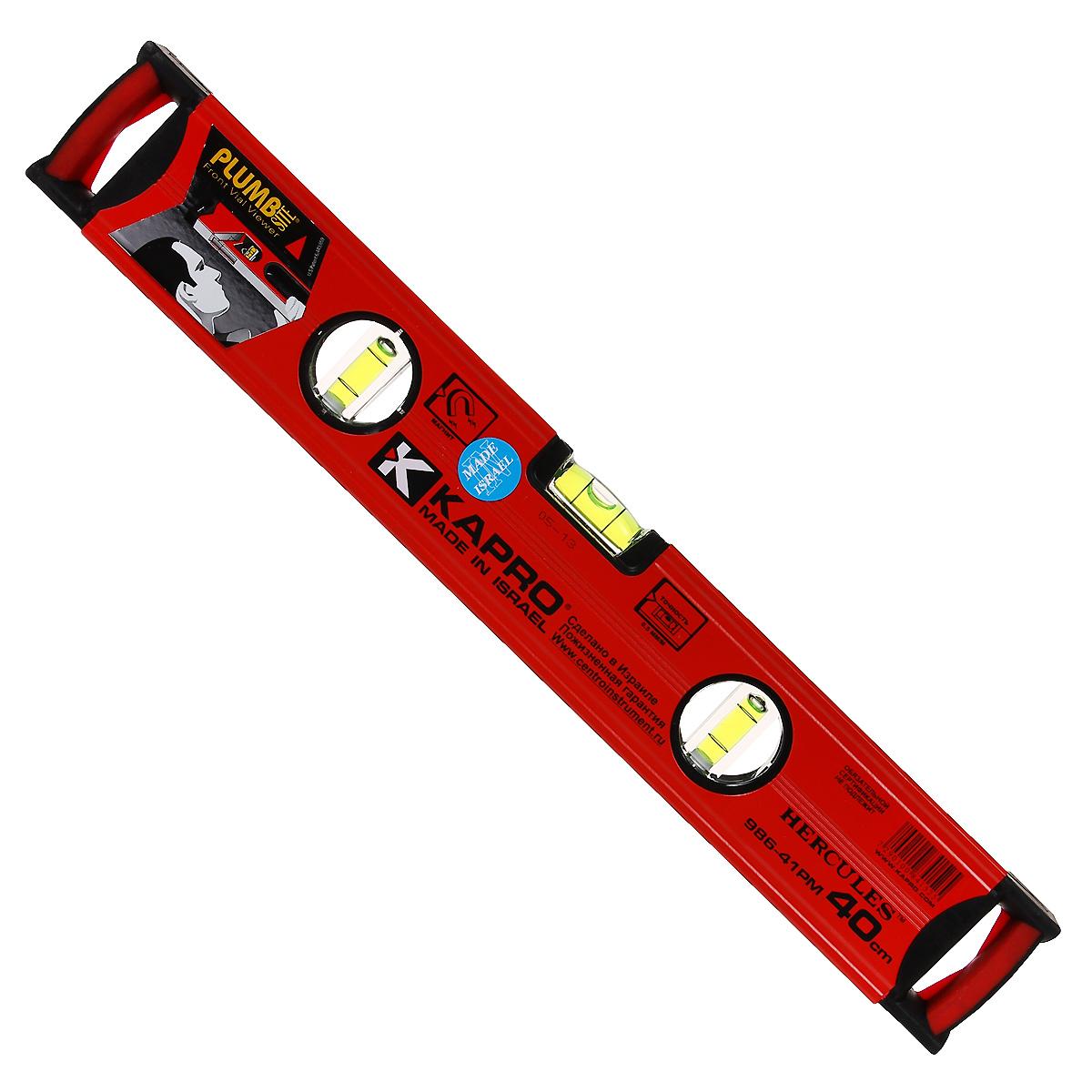 Уровень магнитный Kapro PlumbSite Hercules, 3 колбы, 40 см986-41-40РМУровень Kapro PlumbSite Hercules используется при необходимости контроля горизонтальных и вертикальных плоскостей. Металлический корпус уровня обеспечивает долгий срок эксплуатации. Оснащен 3 колбами. Имеется магнит для фиксации на железном покрытии.