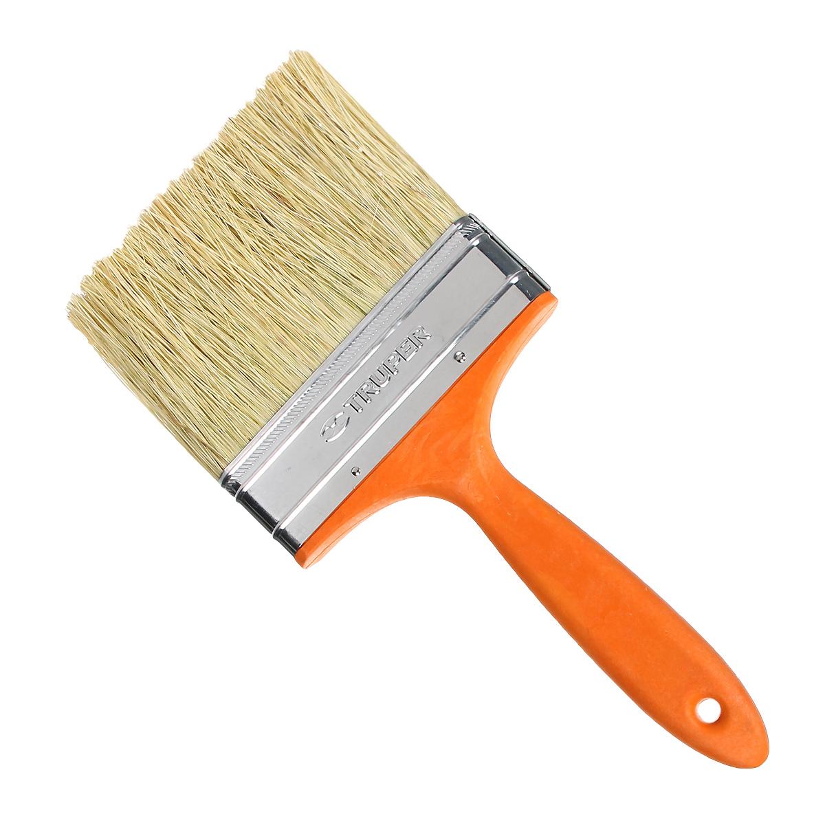 Кисть малярная Truper, с пластиковой ручкой, натуральная растительная щетина, 127 ммBREN-5Малярная кисть Truper с пластиковой ручкой. Натуральная растительная щетина. Применяется для окрашивания больших площадей и нанесения клея на поверхность. Рукоятка обеспечивает надежный и удобный хват благодаря своей форме.