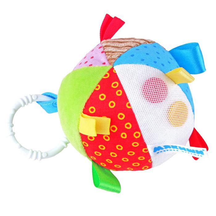 Развивающая игрушка Мякиши Мячик с петельками263Развивающая игрушка Мякиши Мячик с петельками не оставит вашего малыша равнодушным и не позволит ему скучать. Игрушка выполнена из текстильного материала различных цветов и фактур в виде мячика, внутри которого спрятана сфера, гремящая при тряске. Мячик дополнен разноцветными небольшими петельками. Сбоку под сеточкой расположены две яркие пуговички, которые малыш сможет передвигать как ему захочется. Игрушка разработана специально для развития мелкой моторики и тактильных ощущений малыша. Перебирая петельки, кроха понимает, что они гладкие или шершавые, пробует на вкус и тем самым познает мир. Яркая игрушка стимулирует ребенка хватать и держать его маленькими пальчиками. Мягкий и приятный на ощупь мяч издает звук зернышек, стимулирующий органы слуха малыша. С помощью пластикового незамкнутого кольца игрушку можно подвесить к коляске, кроватке, автокреслу или игровой дуге. Замечательный мячик поможет ребенку развить в себе новые навыки, побуждая его к активным...