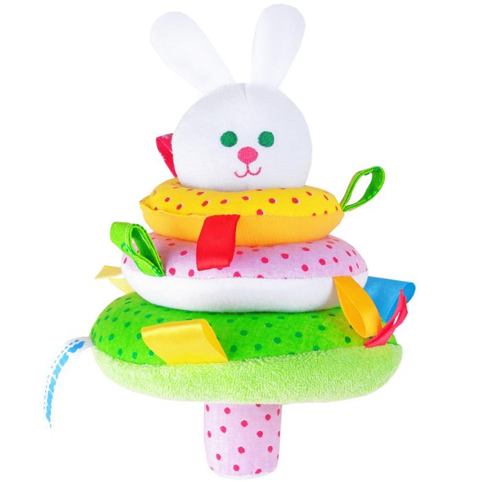 Мякиши Мягкая игрушка-пирамидка Зайка320Мягкая игрушка-пирамидка Мякиши Зайка надолго займет внимание вашего крохи. На штырек основания пирамидки насаживается три колечка разных цветов и размеров с небольшими петельками на каждом. Шуршащий штырек венчает головка забавного зайчика с вышитой мордашкой. Внутри головки спрятана сфера с шариками, гремящими при тряске. Внутри большого колечка также находится гремящая сфера. Игрушка выполнена из качественных, приятных на ощупь текстильных разнофактурных материалов и мягкого наполнителя, что делает ее абсолютно безопасной в игре. Удачно подобранный размер и цвет развивают мышление, цветовое и слуховое восприятие, координацию движений и совершенствуют моторику нежных пальчиков малыша.