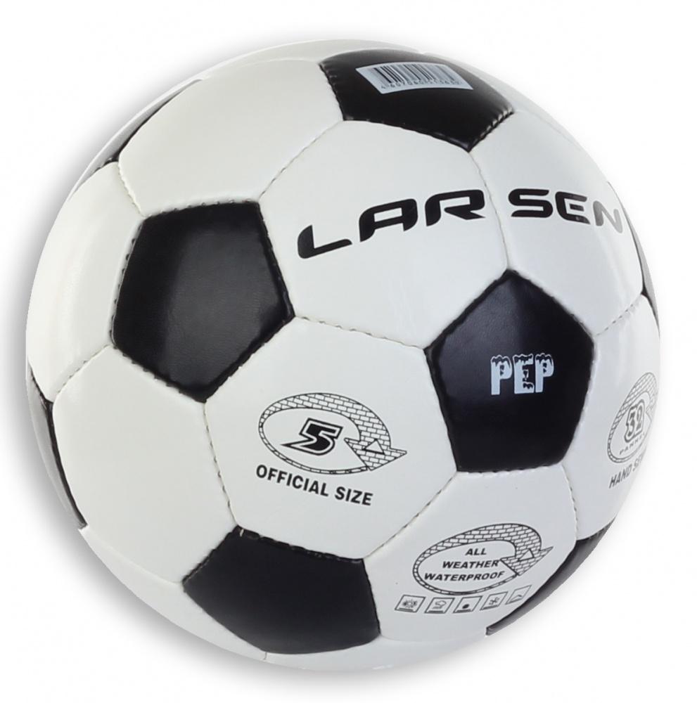 Мяч футбольный Larsen Pep, цвет: белый, черный. Размер 51323Футбольный мяч Larsen Pep подойдет для игры на всех покрытиях. Он выполнен из синтетической кожи и полиуретана. Матовая поверхность. Имеет 4 слоя подкладочного материала - 3 слоя поликоттон и 1 поливискоза. Ручная сшивка. 32 панели. Камера выполнена из латекса, с бутиловым ниппелем. Окружность: 68-69 см.