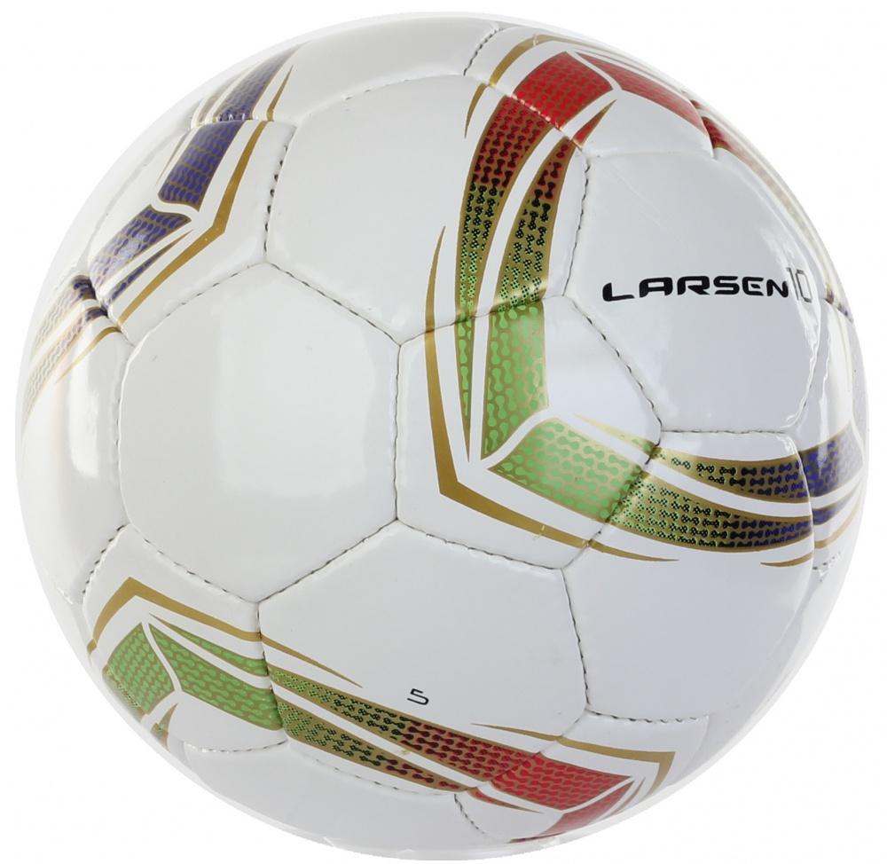 Мяч футбольный Larsen 10. Размер 5232255Футбольный мяч Larsen 10 подойдет для игры на всех покрытиях. Он выполнен из синтетической кожи и полиуретана. Глянцевая поверхность. Имеет 4 слоя подкладочного материала - 3 слоя поликоттон и 1 хлопок. Ручная сшивка. 32 панели. Камера выполнена из латекса, с бутиловым ниппелем. Окружность: 68-69 см.