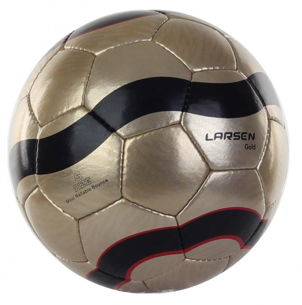 Мяч футбольный Larsen Lux, цвет: золотой. Размер 560637Мяч футбольный Larsen Lux подойдет для игры на всех покрытиях. Он выполнен из синтетической кожи и полиуретана. Глянцевая поверхность. Имеет 4 слоя подкладочного материала - 3 слоя поликоттон и 1 хлопок. Ручная сшивка. 32 панели. Камера выполнена из латекса, с бутиловым ниппелем. Окружность: 68-69 см.