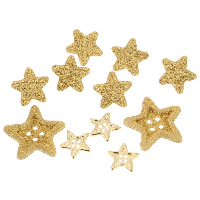 Пуговицы декоративные Dress It Up Звезда комбо золотая, 9 шт. 77025067702506Набор Dress It Up Звезда комбо золотая состоит из 9 декоративных пуговиц, выполненных из пластика в форме звезд. В набор входят пуговицы с отверстиями для пришивания и пуговицы на ушком. Такие пуговицы подходят для любых видов творчества: скрапбукинга, декорирования, шитья, изготовления кукол, а также для оформления одежды. С их помощью вы сможете украсить открытку, фотографию, альбом, подарок и другие предметы ручной работы. Пуговицы, декорированные блестками, имеют оригинальный и яркий дизайн.