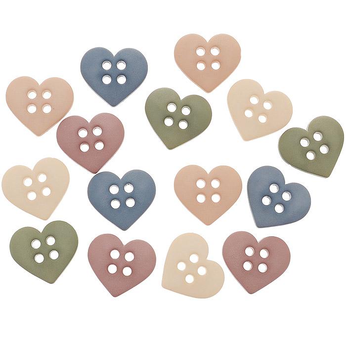 Пуговицы декоративные Dress It Up Пуговки-сердечки, 15 шт. 77045927704592Набор Dress It Up Пуговки-сердечки состоит из 15 декоративных пуговиц, выполненных из пластика в форме сердец. Такие пуговицы подходят для любых видов творчества: скрапбукинга, декорирования, шитья, изготовления кукол, а также для оформления одежды. С их помощью вы сможете украсить открытку, фотографию, альбом, подарок и другие предметы ручной работы. Пуговицы разных цветов имеют оригинальный и яркий дизайн.