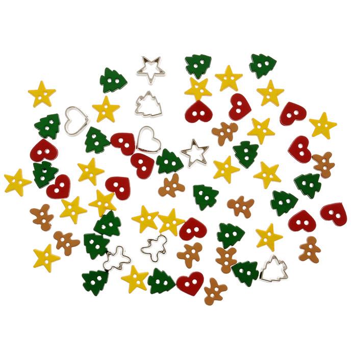 Пуговицы декоративные Dress It Up Канун Рождества, 40 шт. 77024627702462Набор Dress It Up Канун Рождества состоит из 40 декоративных пуговиц, выполненных из пластика в форме звезд, сердец, елочек и пряничных человечков. Такие пуговицы подходят для любых видов творчества: скрапбукинга, декорирования, шитья, изготовления кукол, а также для оформления одежды. С их помощью вы сможете украсить открытку, фотографию, альбом, подарок и другие предметы ручной работы. Пуговицы разных цветов имеют оригинальный и яркий дизайн.