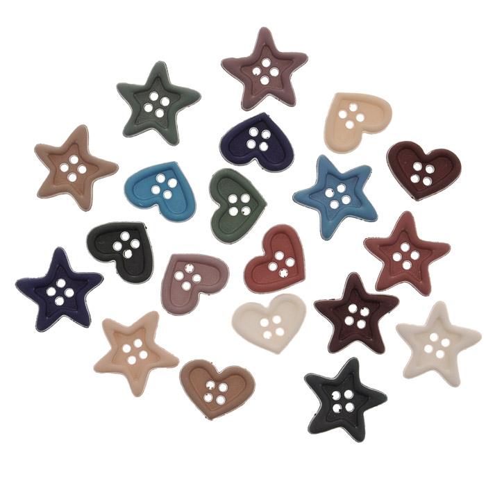 Пуговицы декоративные Dress It Up Сердца и звезды, 15 шт. 77023567702356Набор Dress It Up Крошечная звезда состоит из 15 декоративных пуговиц, выполненных из пластика в форме звезд и сердец. Такие пуговицы подходят для любых видов творчества: скрапбукинга, декорирования, шитья, изготовления кукол, а также для оформления одежды. С их помощью вы сможете украсить открытку, фотографию, альбом, подарок и другие предметы ручной работы. Пуговицы разных цветов имеют оригинальный и яркий дизайн.