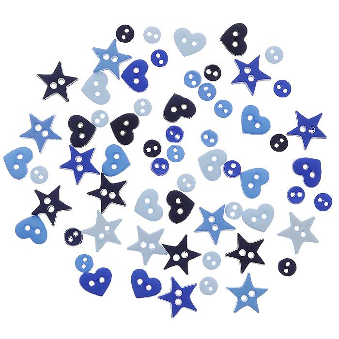 Пуговицы декоративные Dress It Up Форма голубого, 40 шт. 77024227702422Набор Dress It Up Форма голубого состоит из 40 декоративных пуговиц, выполненных из пластика в виде звезд, кругов и сердец. Такие пуговицы подходят для любых видов творчества: скрапбукинга, декорирования, шитья, изготовления кукол, а также для оформления одежды. С их помощью вы сможете украсить открытку, фотографию, альбом, подарок и другие предметы ручной работы. Пуговицы разных цветов имеют оригинальный и яркий дизайн.