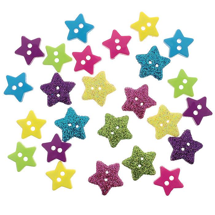 Пуговицы декоративные Dress It Up Крошечная звезда, 25 шт. 77023487702348Набор Dress It Up Крошечная звезда состоит из 25 декоративных пуговиц, выполненных из пластика в форме звезд. Десять пуговиц имеют глянцевую поверхность, остальные декорированы блестками. Такие пуговицы подходят для любых видов творчества: скрапбукинга, декорирования, шитья, изготовления кукол, а также для оформления одежды. С их помощью вы сможете украсить открытку, фотографию, альбом, подарок и другие предметы ручной работы. Пуговицы разных цветов имеют оригинальный и яркий дизайн.