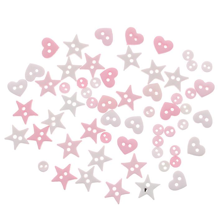 Пуговицы декоративные Dress It Up Форма розового, 40 шт. 77024217702421Набор Dress It Up Форма розового состоит из 40 декоративных пуговиц, выполненных из пластика в виде звезд, кругов и сердец. Такие пуговицы подходят для любых видов творчества: скрапбукинга, декорирования, шитья, изготовления кукол, а также для оформления одежды. С их помощью вы сможете украсить открытку, фотографию, альбом, подарок и другие предметы ручной работы. Пуговицы разных цветов имеют оригинальный и яркий дизайн.