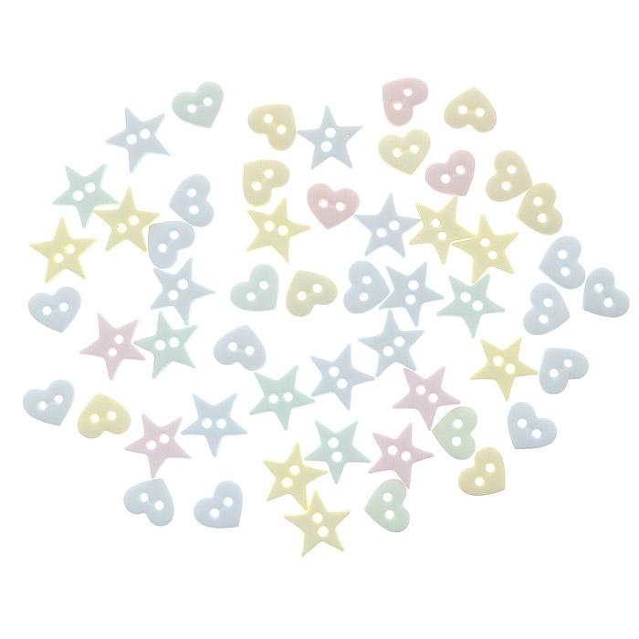 Пуговицы декоративные Dress It Up Сердечки и звездочки, 40 шт. 77020567702056Набор Dress It Up Сердечки и звездочки состоит из 40 декоративных пуговиц, выполненных из пластика в форме звезд и сердец. Такие пуговицы подходят для любых видов творчества: скрапбукинга, декорирования, шитья, изготовления кукол, а также для оформления одежды. С их помощью вы сможете украсить открытку, фотографию, альбом, подарок и другие предметы ручной работы. Пуговицы разных цветов имеют оригинальный и яркий дизайн.