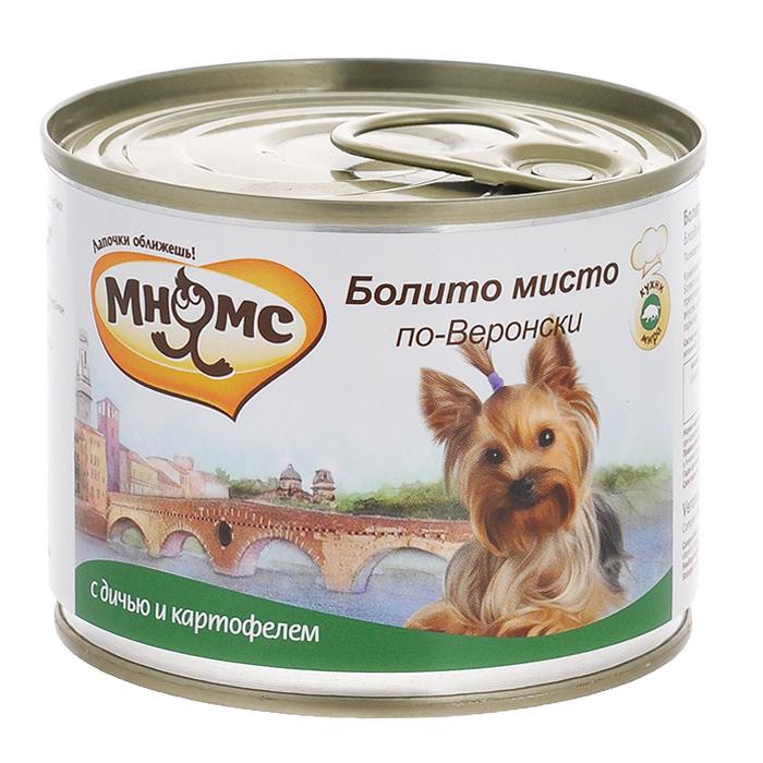 Консервы для собак Мнямс Болито мисто по-Веронски, с дичью и картофелем, 200 г57667Полнорационные корма Мнямс, производимые в Германии, содержат все необходимое для здоровой и счастливой жизни вашего питомца. Входящие в состав ингредиенты абсолютно натуральны, сбалансированы и при этом обладают высокой вкусовой привлекательностью. Кухня итальянского города Вероны славится своими мясными блюдами, поэтому в любом ресторане здесь Вам предложат Болито мисто по-Веронски - ассорти из разных видов дичи, которое тушат вместе - в одной кастрюле. В конце приготовления добавляют картофель, сладкий перец и специи. Блюдо отличается тонким, сложным и разнообразным вкусом, который подчёркивает традиционный веронский густой соус, готовящийся из мясного бульона, хлеба и сыра пармезан. При кормлении необходимо учитывать возраст и активность животного. Собака всегда должна иметь доступ к свежей питьевой воде. Состав: мясо 66%, из них дичь (100%), картофель (2%), томаты (2%), минералы, прованские травы (0,2%), льняное масло (0,1%). Пищевая ценность:...