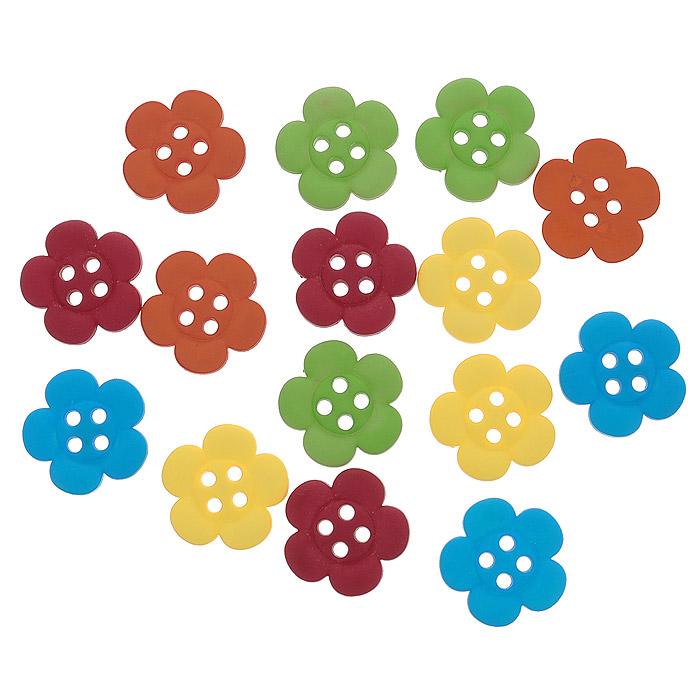 Пуговицы декоративные Dress It Up Цветы, 12 шт. 77045697704569Набор Dress It Up Цветы состоит из 12 декоративных разноцветных пуговиц в виде цветов, изготовленных из пластика, с помощью которых вы сможете украсить открытку, фотографию, альбом, одежду, подарок и другие предметы ручной работы. Все пуговицы в наборе имеют оригинальный и яркий дизайн.