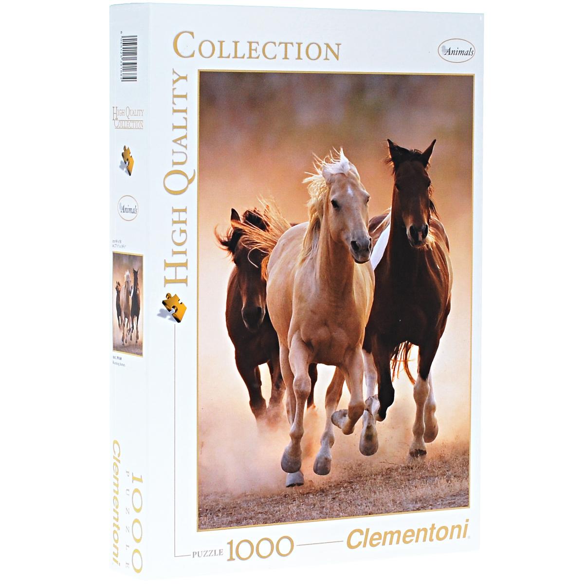 Бегущие кони. Пазл, 1000 элементов39168Пазл Clementoni Бегущие кони, без сомнения, придется по душе вам и вашему ребенку. Собрав этот пазл, включающий в себя 1000 элементов, вы получите цветной оригинальный постер с изображением коней. Один из редких сложнейших кадров, сделанный профессиональными фотохудожниками, взят за основу пазла. Гармоничная композиция, сдержанная цветовая гамма, профессиональная обработка изображения делают такую картину подходящей для любого интерьера. Пазлы - прекрасное антистрессовое средство для взрослых и замечательная развивающая игра для детей. Собирание пазла развивает у ребенка мелкую моторику рук, тренирует наблюдательность, логическое мышление, знакомит с окружающим миром, с цветом и разнообразными формами, учит усидчивости и терпению, аккуратности и вниманию. Собирание пазла - прекрасное времяпрепровождение для всей семьи.