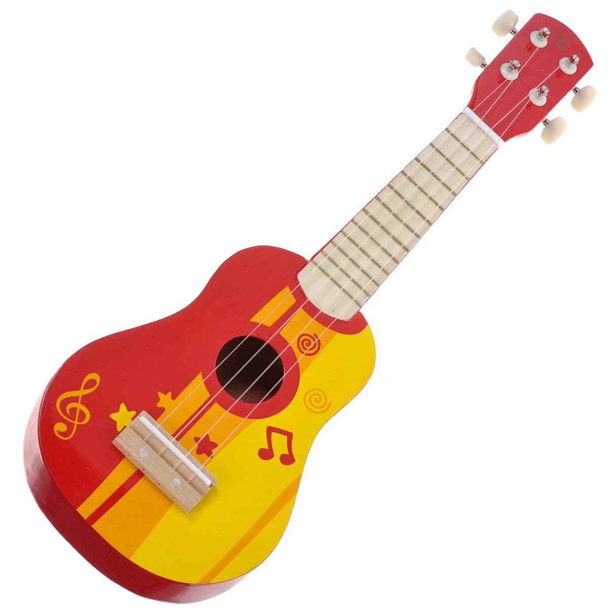 Hape Игрушка деревянная Гитара, цвет: красный, желтый. Е0316е0316