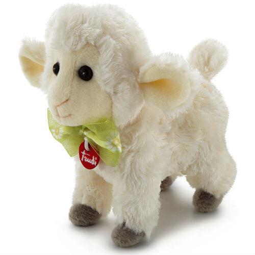 Мягкая игрушка Trudi Овечка, 15 см51108Очаровательная мягкая игрушка Trudi Овечка выполнена в виде обаятельной овечки. Игрушка изготовлена из высококачественного текстильного материала с набивкой из полиэстера. Игрушка невероятно мягкая и приятная на ощупь, вам не захочется выпускать ее из рук. Глазки овечки изготовлены из пластика. На шее у овечки - красочный зеленый бантик с ромашками. Игрушка может стоять самостоятельно. Небольшие размеры позволят малышу всюду брать ее с собой - на прогулку, в детский сад или в поездку. Удивительно мягкая игрушка принесет радость и подарит своему обладателю мгновения нежных объятий и приятных воспоминаний. Игрушка упакована в подарочную коробку. Великолепное качество исполнения делают эту игрушку чудесным подарком к любому празднику. Трогательная и симпатичная, она непременно вызовет улыбку у детей и взрослых.