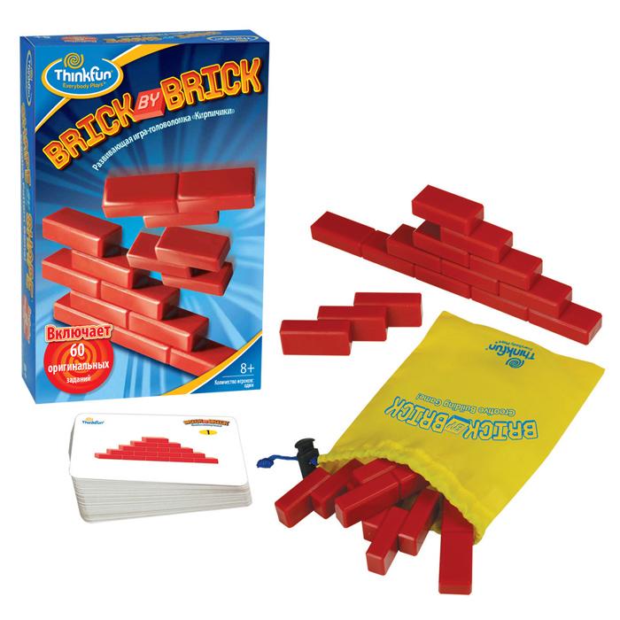 Головоломка Thinkfun Кирпичики5901-RUУвлекательная головоломка Thinkfun Кирпичики позволит ребенку весело и с пользой провести время. Настольная игра-головоломка Кирпичики включает в себя 5 элементов головоломки из кирпичиков и 60 карточек с заданиями. Правила игры очень просты - вам необходимо разместить элементы головоломки так, чтобы получилась фигура, изображенная на картинке. Задания имеют различные уровни сложности, от начинающего до эксперта. В комплект входит мешочек для хранения игровых принадлежностей Такая игра надолго займет ребенка, и поможет ему раскрыть свой потенциал, научит его логическому мышлению и поспособствует развитию мелкой моторики.