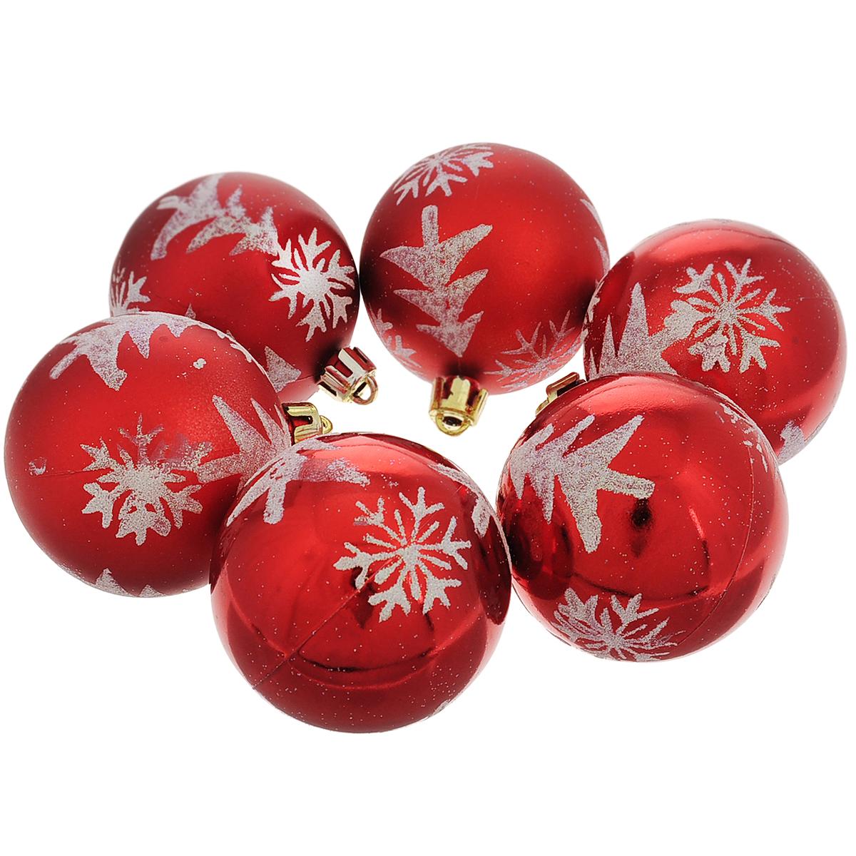 Набор новогодних подвесных украшений Шар, цвет: красный, серебристый, диаметр 6 см, 6 шт. 3550735507Набор новогодних подвесных украшений Шар прекрасно подойдет для праздничного декора новогодней ели. Набор состоит из шести шаров - 3 матовых и 3 глянцевых, выполненных из пластика. Шары украшены изящными узорами из серебристых блесток. Для удобного размещения на елке для каждого шара предусмотрена текстильная петелька. Елочная игрушка - символ Нового года. Она несет в себе волшебство и красоту праздника. Создайте в своем доме атмосферу веселья и радости, украшая новогоднюю елку нарядными игрушками, которые будут из года в год накапливать теплоту воспоминаний. Коллекция декоративных украшений принесет в ваш дом ни с чем несравнимое ощущение волшебства! Откройте для себя удивительный мир сказок и грез. Почувствуйте волшебные минуты ожидания праздника, создайте новогоднее настроение вашим дорогим и близким.