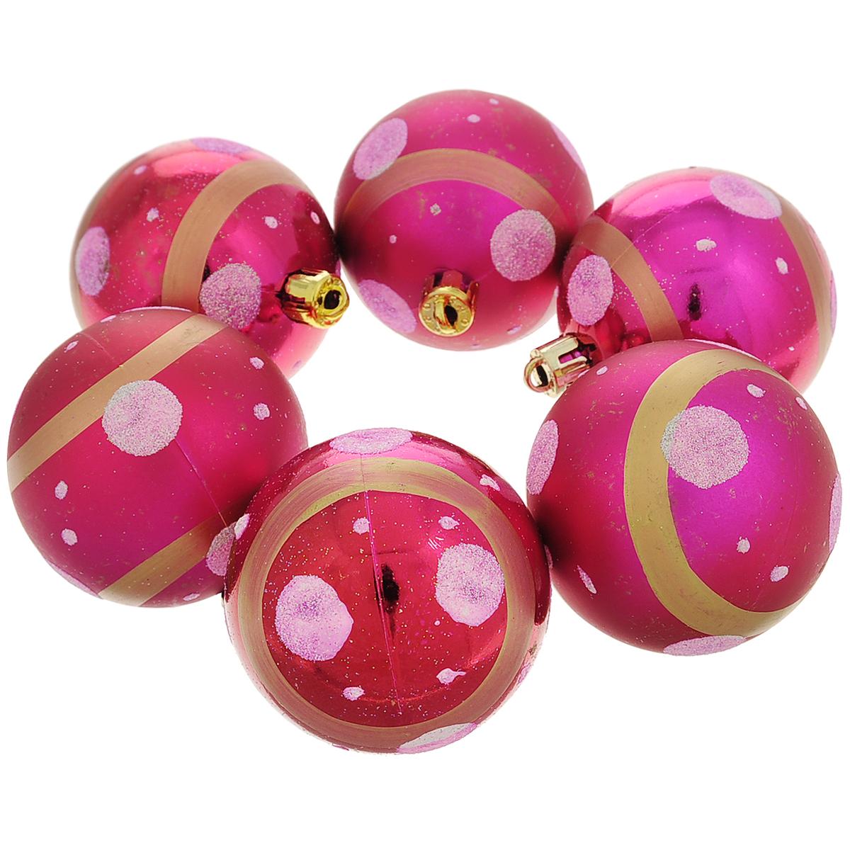Набор новогодних подвесных украшений Шар, цвет: малиновый, диаметр 6 см, 6 шт. 3554235542Набор новогодних подвесных украшений Шар прекрасно подойдет для праздничного декора новогодней ели. Состоит из шести шаров. Елочная игрушка - символ Нового года. Она несет в себе волшебство и красоту праздника. Создайте в своем доме атмосферу веселья и радости, украшая новогоднюю елку нарядными игрушками, которые будут из года в год накапливать теплоту воспоминаний. Коллекция декоративных украшений принесет в ваш дом ни с чем несравнимое ощущение волшебства! Откройте для себя удивительный мир сказок и грез. Почувствуйте волшебные минуты ожидания праздника, создайте новогоднее настроение вашим дорогим и близким.