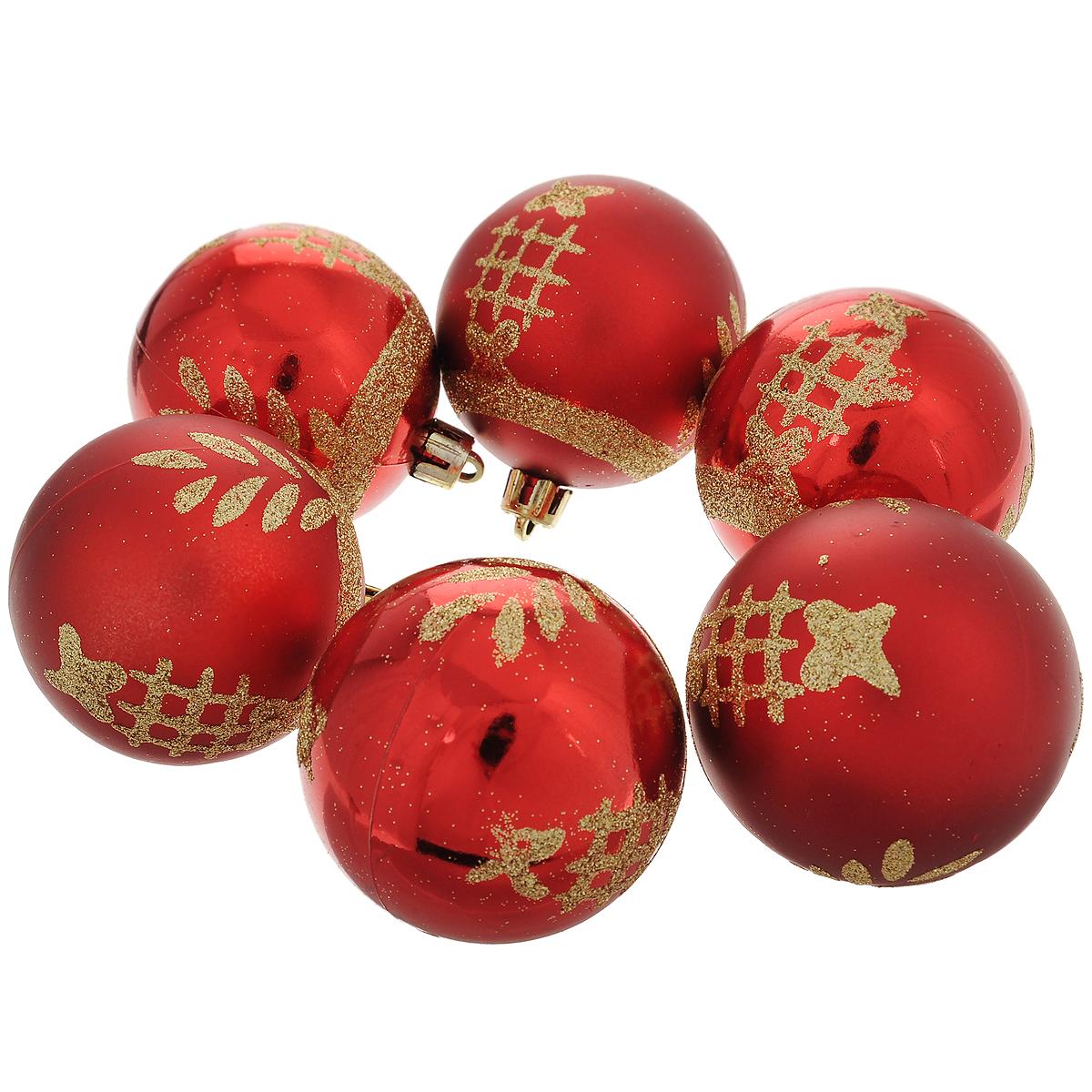 Набор новогодних подвесных украшений Шар, цвет: золотистый, красный, диаметр 6 см, 6 шт. 3551335513Набор новогодних подвесных украшений Шар прекрасно подойдет для праздничного декора новогодней ели. Состоит из шести шаров. Елочная игрушка - символ Нового года. Она несет в себе волшебство и красоту праздника. Создайте в своем доме атмосферу веселья и радости, украшая новогоднюю елку нарядными игрушками, которые будут из года в год накапливать теплоту воспоминаний. Коллекция декоративных украшений принесет в ваш дом ни с чем несравнимое ощущение волшебства! Откройте для себя удивительный мир сказок и грез. Почувствуйте волшебные минуты ожидания праздника, создайте новогоднее настроение вашим дорогим и близким.
