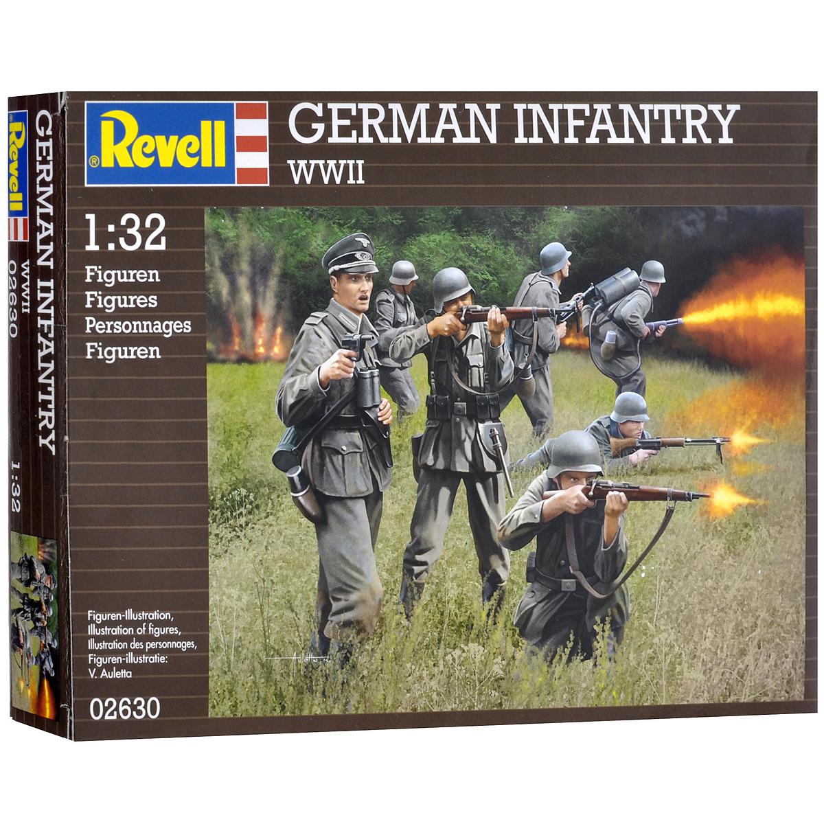 Набор миниатюр Revell Немецкая пехота2630В комплект набора миниатюр Revell Немецкая пехота входят 15 пластиковых неокрашенных темно-зеленых фигурок в виде солдатов немецкой пехоты времен Второй Мировой войны в различных позах. Реалистичный вид фигурок позволит воспроизвести события минувших дней. Занимаясь раскраской фигур и играя с ними, ребенок сможет развивать ловкость, мелкую моторику рук, терпение усидчивость, а также получит исторические знания. Клей и краски в комплект не входят.
