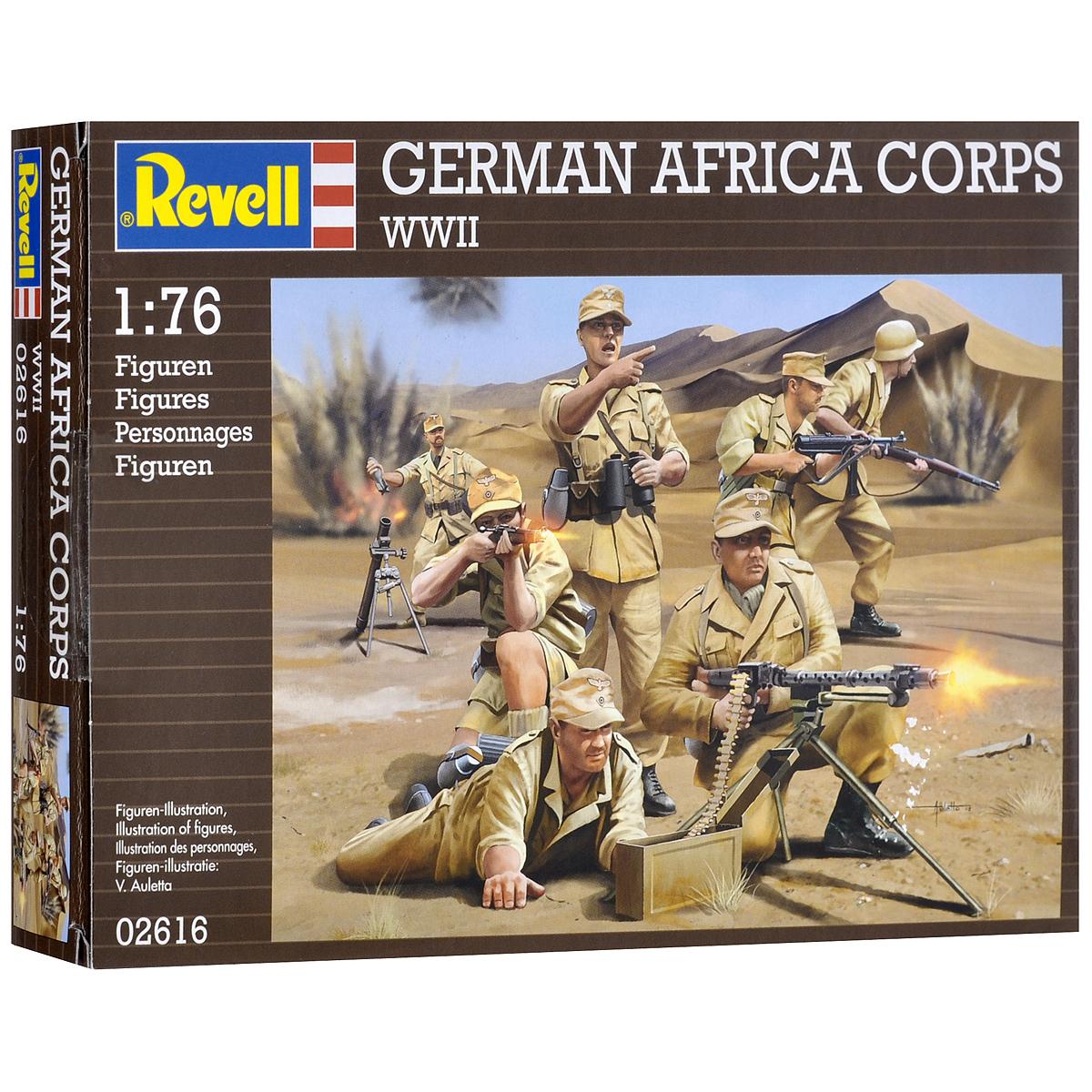 Набор миниатюр Revell Немецкие войска в Африке2616В комплект набора миниатюр Revell Немецкие войска в Африке входят 50 пластиковых неокрашенных фигурок в виде солдатов немецкой армии во время службы в Африке в различных позах. Реалистичный вид фигурок позволит воспроизвести события минувших дней. В начале 1941 года Германское верховное командование отправил Африканский Корпус, чтобы помочь своим итальянских союзников в Ливии. Кроме фигурок людей в наборе имеются два элемента оружия. Занимаясь раскраской фигур и играя с ними, ребенок сможет развивать ловкость, мелкую моторику рук, терпение усидчивость, а также получит исторические знания. Клей и краски в комплект не входят.