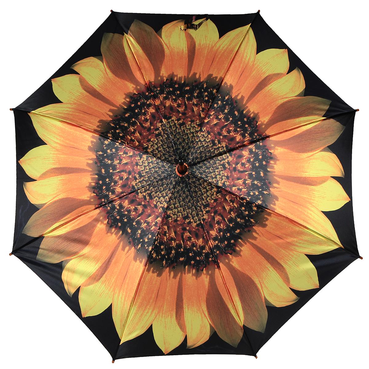 Зонт-трость Подсолнух, полуавтомат. 1001-11001-1Стильный полуавтоматический зонт-трость Подсолнух поднимет настроение даже в ненастную погоду. Каркас зонта состоит из деревянного стержня и 8 металлических спиц черного цвета. Купол зонта, изготовленный из сатина с водоотталкивающей пропиткой, оформлен красочным изображением подсолнуха. Зонт оснащен удобной закругленной рукояткой. Кончики спиц защищены деревянными насадками. Зонт имеет полуавтоматический механизм сложения: купол открывается нажатием кнопки на рукоятке, а закрывается вручную до характерного щелчка. Такой зонт не только надежно защитит вас от дождя, но и станет стильным аксессуаром.