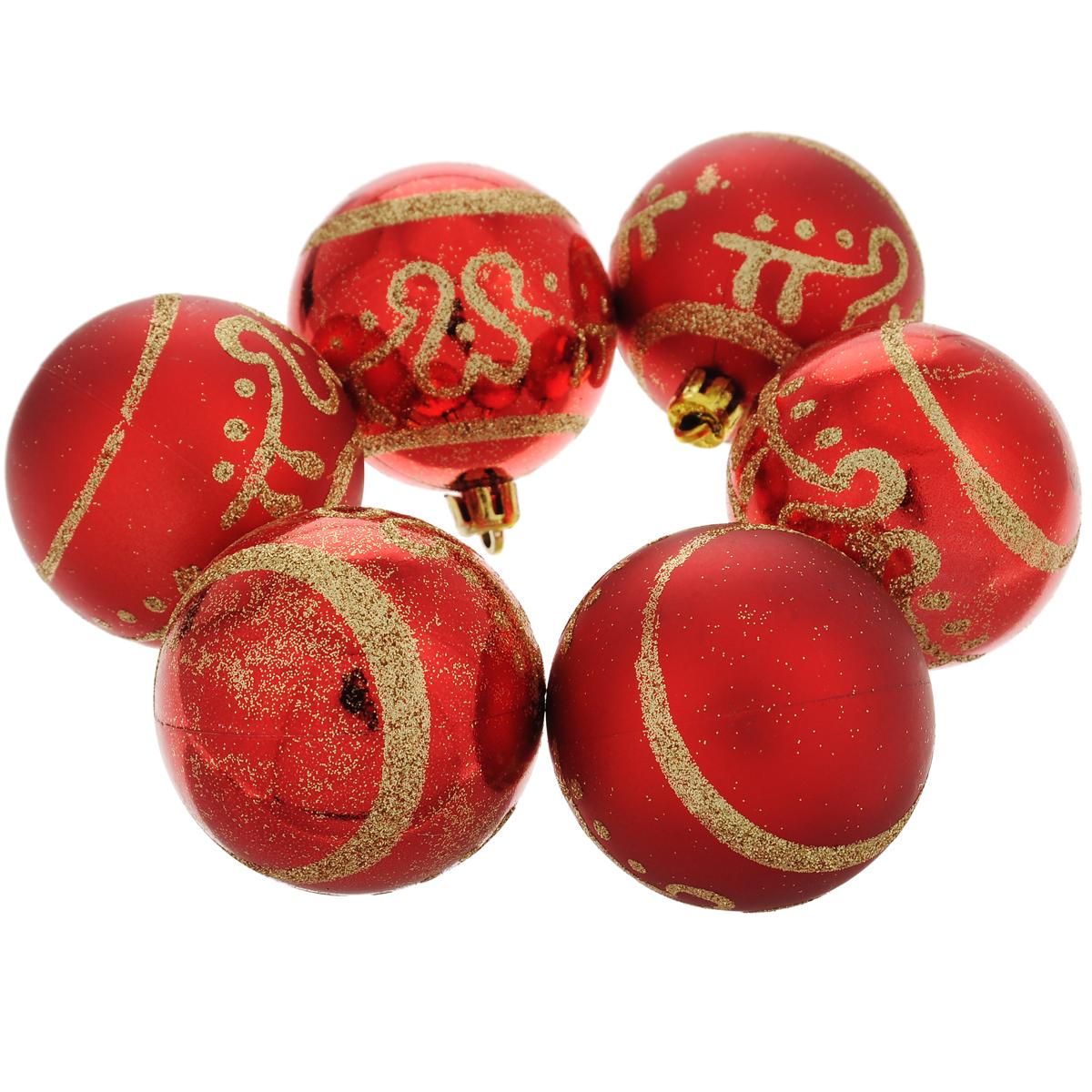 Набор новогодних подвесных украшений Шар, цвет: золотистый, красный, диаметр 6 см, 6 шт. 3549435494Набор новогодних подвесных украшений Шар прекрасно подойдет для праздничного декора новогодней ели. Состоит из шести шаров. Елочная игрушка - символ Нового года. Она несет в себе волшебство и красоту праздника. Создайте в своем доме атмосферу веселья и радости, украшая новогоднюю елку нарядными игрушками, которые будут из года в год накапливать теплоту воспоминаний. Коллекция декоративных украшений принесет в ваш дом ни с чем несравнимое ощущение волшебства! Откройте для себя удивительный мир сказок и грез. Почувствуйте волшебные минуты ожидания праздника, создайте новогоднее настроение вашим дорогим и близким.