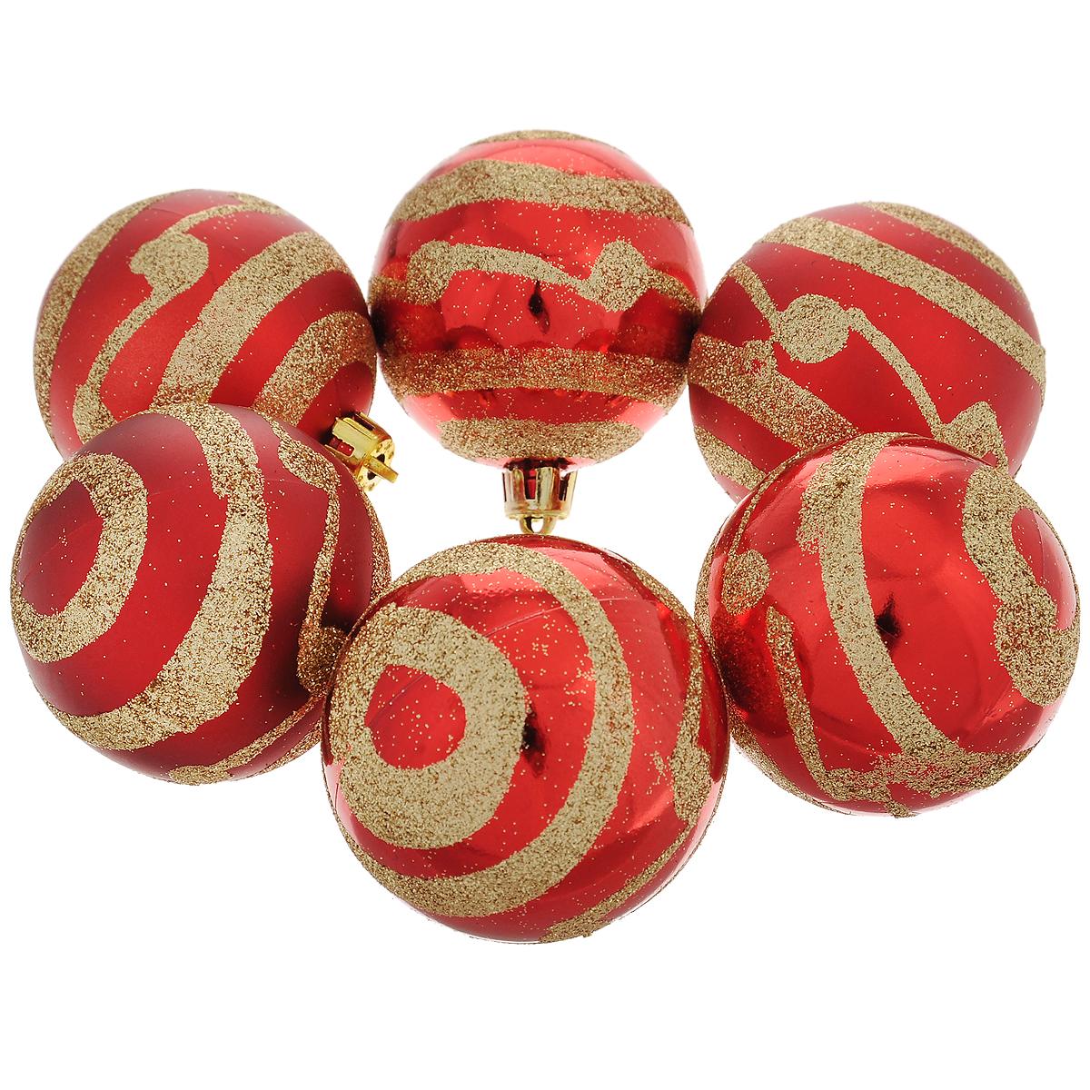 Набор новогодних подвесных украшений Шар, цвет: золотистый, красный, диаметр 6 см, 6 шт. 3549735497Набор новогодних подвесных украшений Шар прекрасно подойдет для праздничного декора новогодней ели. Состоит из шести шаров. Елочная игрушка - символ Нового года. Она несет в себе волшебство и красоту праздника. Создайте в своем доме атмосферу веселья и радости, украшая новогоднюю елку нарядными игрушками, которые будут из года в год накапливать теплоту воспоминаний. Коллекция декоративных украшений принесет в ваш дом ни с чем несравнимое ощущение волшебства! Откройте для себя удивительный мир сказок и грез. Почувствуйте волшебные минуты ожидания праздника, создайте новогоднее настроение вашим дорогим и близким.
