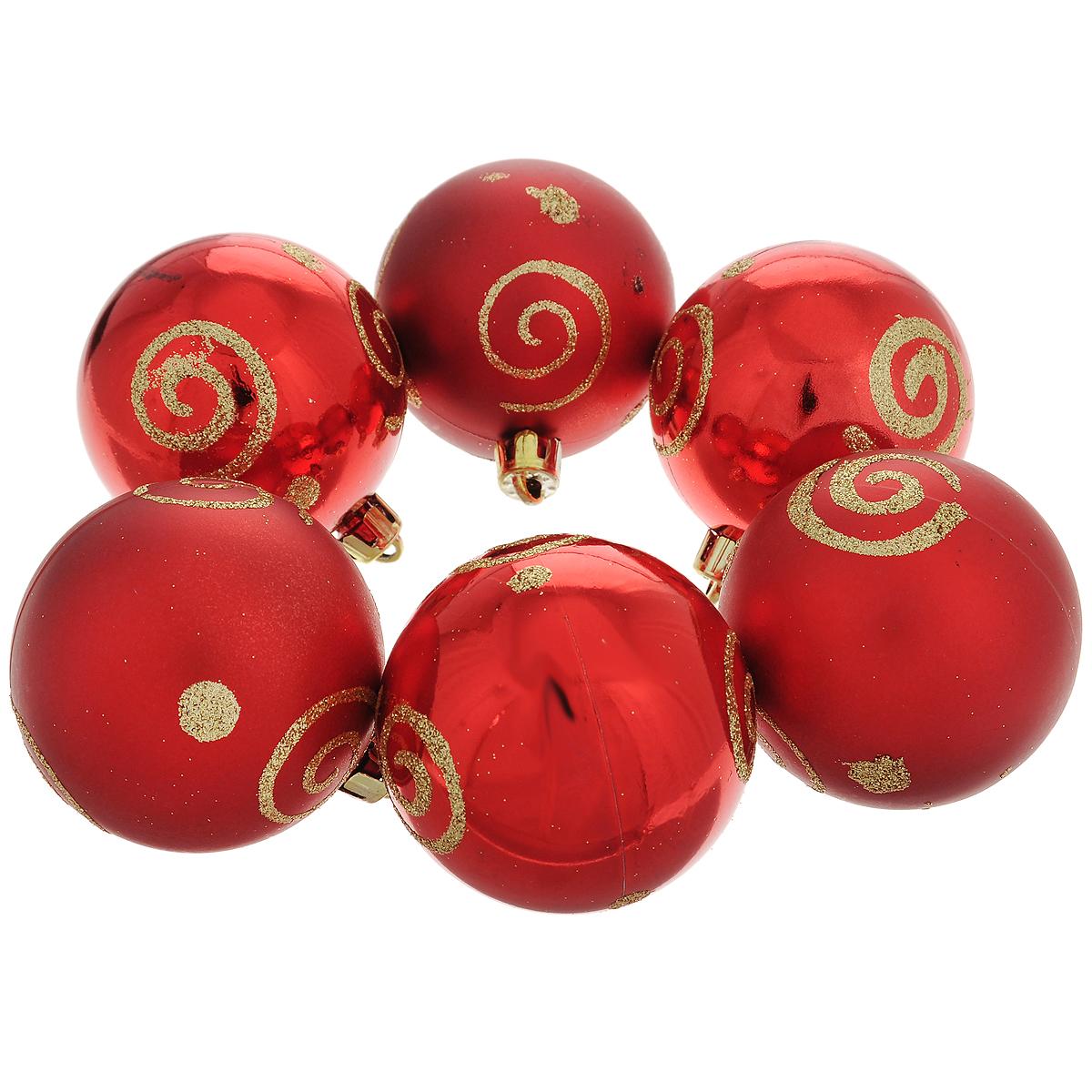 Набор новогодних подвесных украшений Шар, цвет: золотистый, красный, диаметр 6 см, 6 шт. 3550135501Набор новогодних подвесных украшений Шар прекрасно подойдет для праздничного декора новогодней ели. Состоит из шести шаров. Елочная игрушка - символ Нового года. Она несет в себе волшебство и красоту праздника. Создайте в своем доме атмосферу веселья и радости, украшая новогоднюю елку нарядными игрушками, которые будут из года в год накапливать теплоту воспоминаний. Коллекция декоративных украшений принесет в ваш дом ни с чем несравнимое ощущение волшебства! Откройте для себя удивительный мир сказок и грез. Почувствуйте волшебные минуты ожидания праздника, создайте новогоднее настроение вашим дорогим и близким.