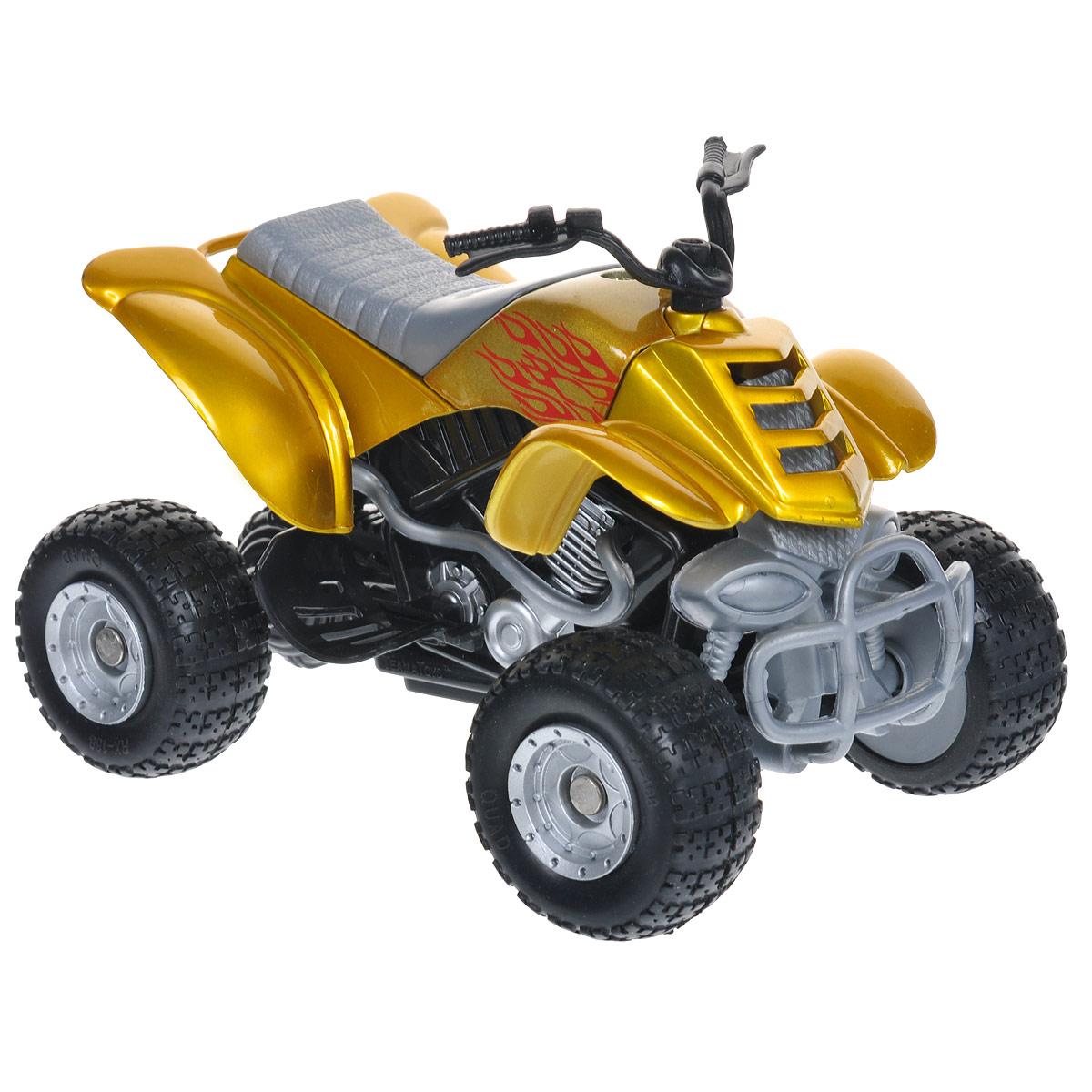 Autotime Коллекционная модель Мотоцикл Quadrobike Fire, цвет: желтый70232-00-RUS_желтыйКоллекционная модель Autotime Мотоцикл Quadrobike Fire выполнена из металла с элементами из пластика и представляет собой уменьшенную одноименную копию квадроцикла Quad Bike Fire. Модель отличается отличным качеством исполнения и детализацией высшего уровня. Масштаб и высокотехнологичное оборудование позволяют передать все тонкости и нюансы настоящего мотоцикла. Колеса квадроцикла крутятся. При нажатии на кнопку, расположенную сбоку игрушки, раздаются звуки, имитирующие езду настоящего мотоцикла. Коллекционная модель Autotime Мотоцикл Quad Bike понравится вашему ребенку и станет достойным экспонатом любой коллекции. Рекомендуется докупить 2 батарейки напряжением 1,5V типа АG13 (товар комплектуется демонстрационными).