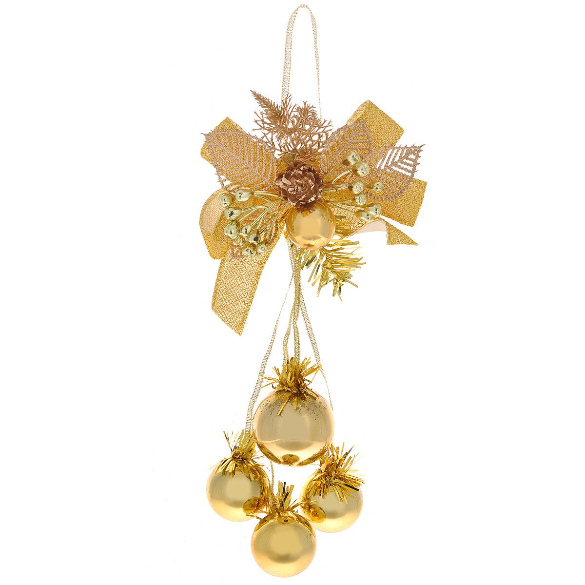 Новогоднее подвесное украшение Шарики, цвет: золотистый. 3442634426Оригинальное новогоднее украшение из пластика прекрасно подойдет для праздничного декора дома и новогодней ели. Изделие крепится на елку с помощью металлического зажима.