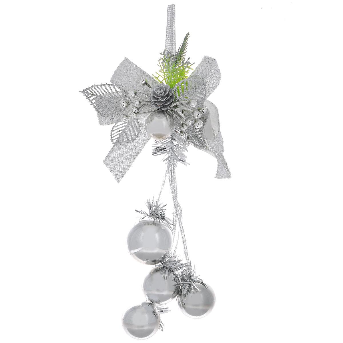 Новогоднее подвесное украшение Шарики, цвет: серебристый. 3442534425Оригинальное новогоднее украшение из пластика прекрасно подойдет для праздничного декора дома и новогодней ели. Изделие крепится на елку с помощью металлического зажима.