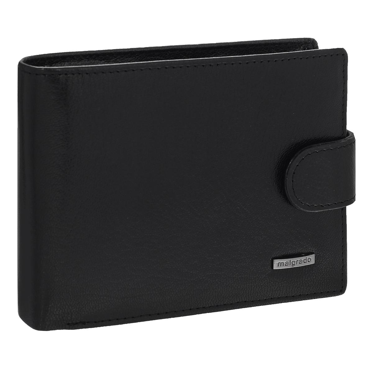 Портмоне мужское Malgrado, цвет: черный. 35027-5401D35027-5401D Black Портмоне MalgradoУниверсальное портмоне Malgrado изготовлено из натуральной кожи. Внутри содержит три отделения для купюр, одно из которых на молнии, два потайных кармашка, отсек для мелочи на кнопке, прозрачный кармашек для пропуска или фотографии, отделение для визиток или кредитных карт на шесть карточек, прорезной кармашек и два кармана из прозрачного пластика. Также предусмотрено потайное отделение на застежке-молнии. Закрывается портмоне хлястиком на кнопку. Благодаря насыщенному цвету и лаконичному дизайну, такое портмоне подойдет любителям классических аксессуаров.