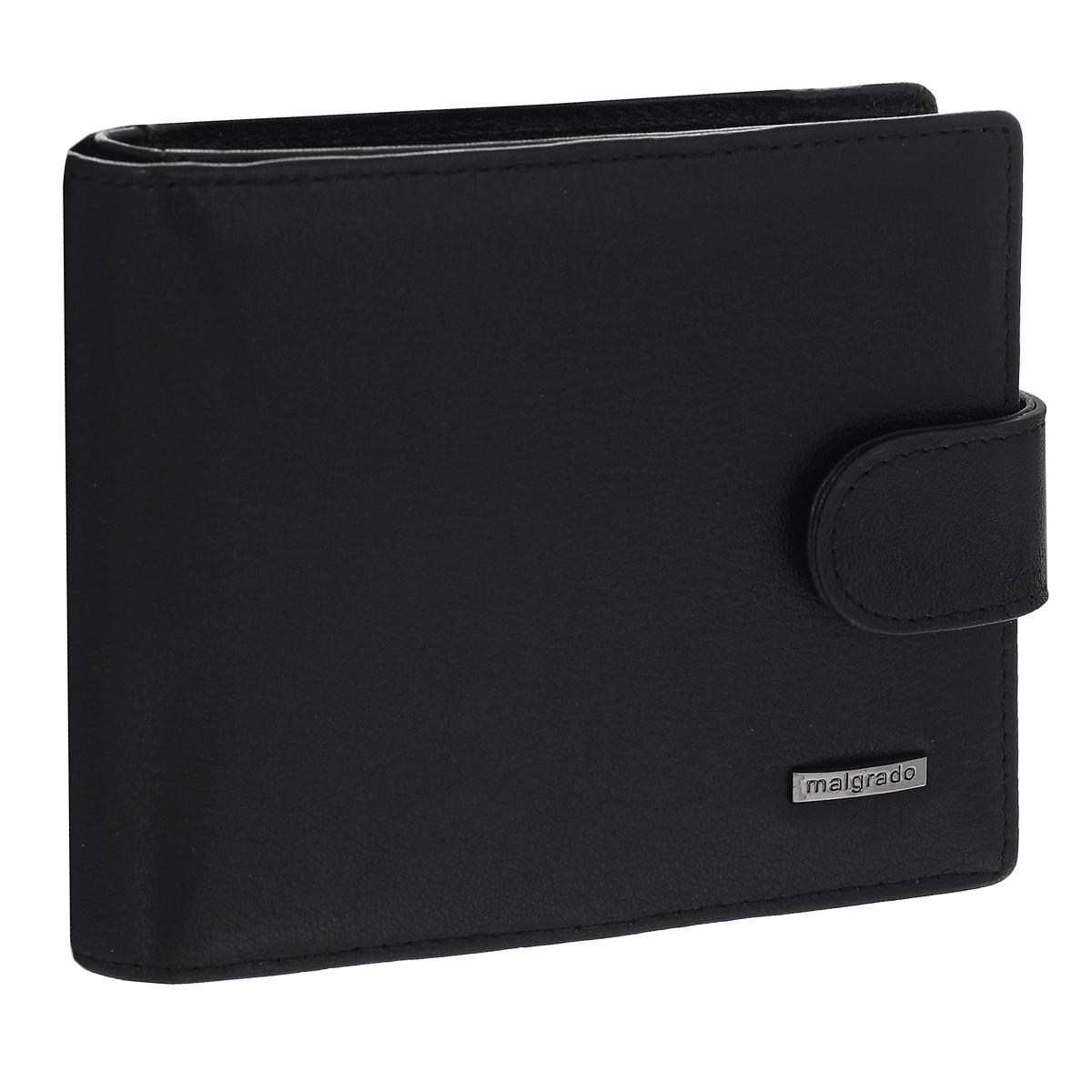 """Портмоне мужское Malgrado, цвет: черный. 35023-55D35023-55D Black Портмоне MalgradoУниверсальное портмоне Malgrado изготовлено из натуральной матовой кожи. Внутри содержит два отделения для купюр, одно из которых на молнии, три потайных кармашка, отсек для мелочи на кнопке, карман с прозрачным """"окошком"""" для пропуска или фотографии, шесть наборных кармашков для кредитных карт. Закрывается портмоне хлястиком на кнопку. Благодаря насыщенному цвету и лаконичному дизайну, такое портмоне подойдет любителям классических аксессуаров."""