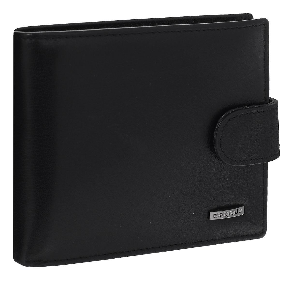 """Портмоне мужское Malgrado, цвет: черный. 36002-55D36002-55D Black Портмоне MalgradoУниверсальное портмоне Malgrado изготовлено из натуральной кожи. Внутри содержит три отделения для купюр, одно из которых на молнии, потайной кармашек, отсек для мелочи на кнопке, два кармана с прозрачным """"окошком"""" для пропуска или фотографии и три наборных кармашка для кредитных карт. Закрывается портмоне хлястиком на кнопку. Благодаря насыщенному цвету и лаконичному дизайну, такое портмоне подойдет любителям классических аксессуаров."""