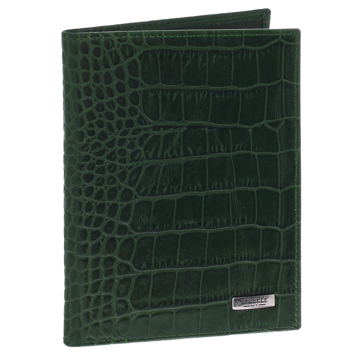 Бумажник водителя Tirelli Кроко, цвет: зеленый. BV-115-305-20Бумажник водителя Tirelli Кроко изготовлен из натуральной кожи с декоративным теснением под крокодила. Внутри содержится съемный блок из 6 прозрачных пластиковых файлов различного размера для автодокументов, четыре вертикальных кармана из кожи и четыре наборных кармашка для визиток или карточек. Стильный бумажник не только защитит ваши документы, но и станет стильным аксессуаром, подчеркивающим ваш образ. Изделие упаковано в подарочную коробку с логотипом фирмы Tirelli.